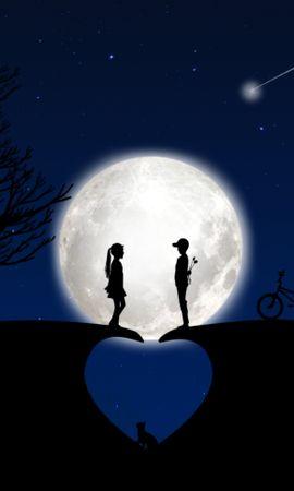 59256 télécharger le fond d'écran Enfants, Silhouettes, Amour, Lune, Romance - économiseurs d'écran et images gratuitement