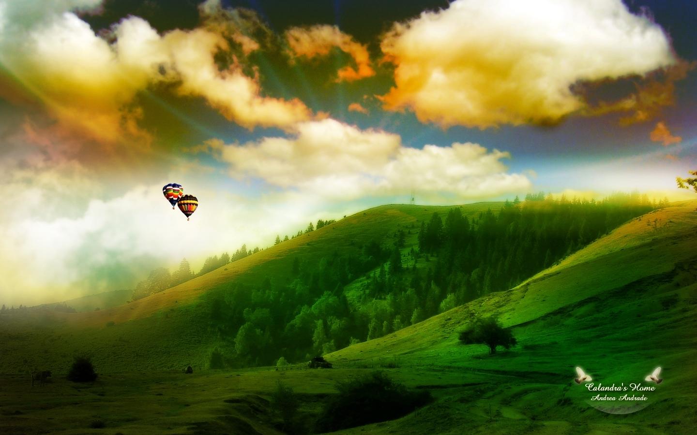 26934 скачать обои Пейзаж, Деревья, Небо, Горы, Облака, Воздушные Шары - заставки и картинки бесплатно