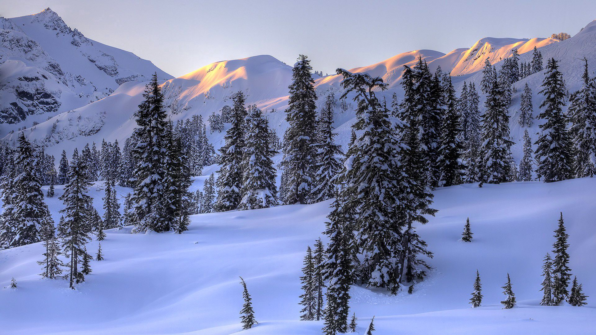 97383 download wallpaper Winter, Nature, Trees, Mountains, Snow screensavers and pictures for free