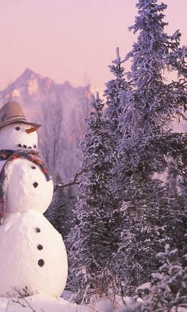 10688 скачать обои Пейзаж, Зима, Новый Год (New Year), Снег, Елки, Рождество (Christmas, Xmas), Снеговики - заставки и картинки бесплатно