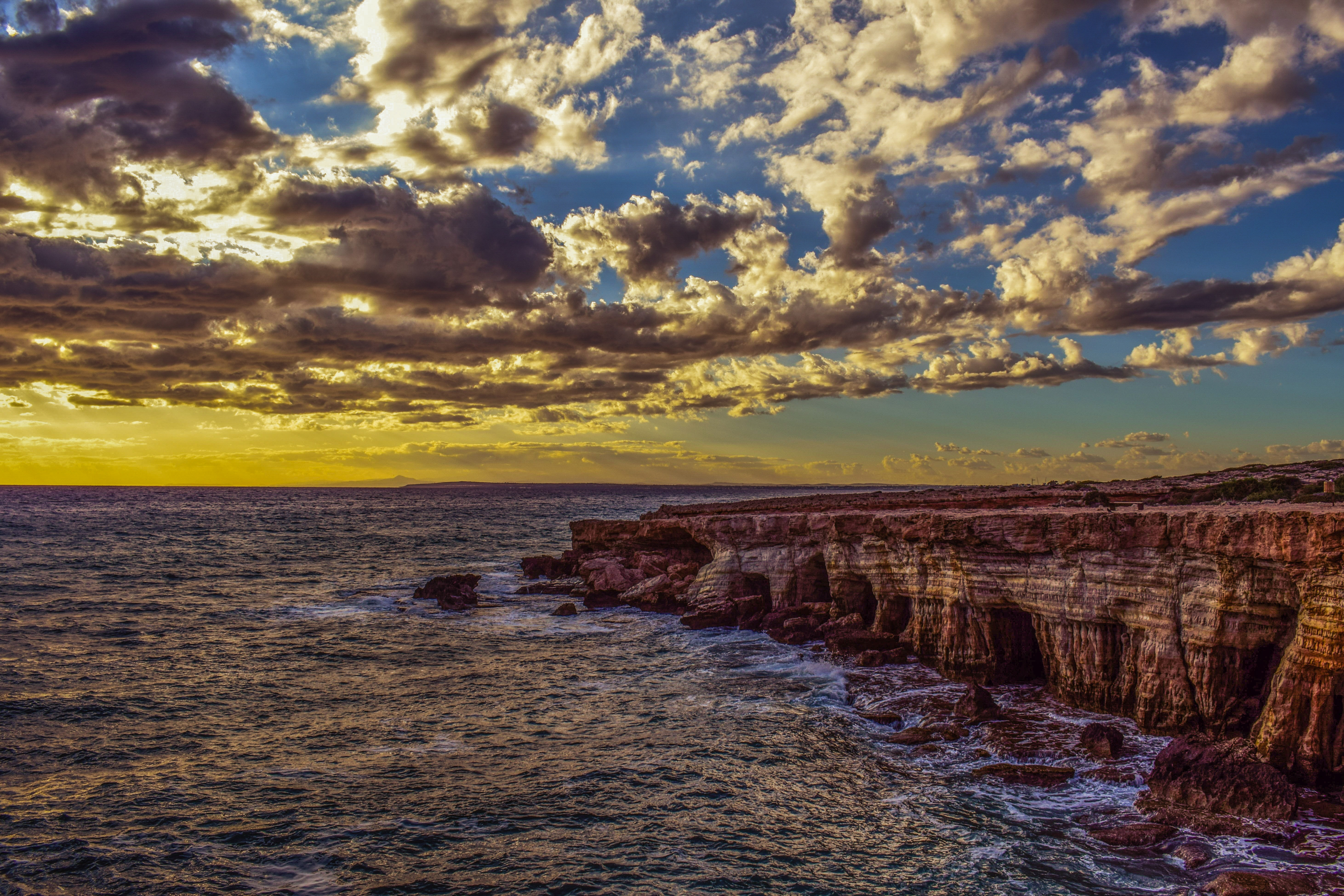 100058 download wallpaper Nature, Stones, Sky, Sea, Shore, Bank, Cliff, Hdr screensavers and pictures for free