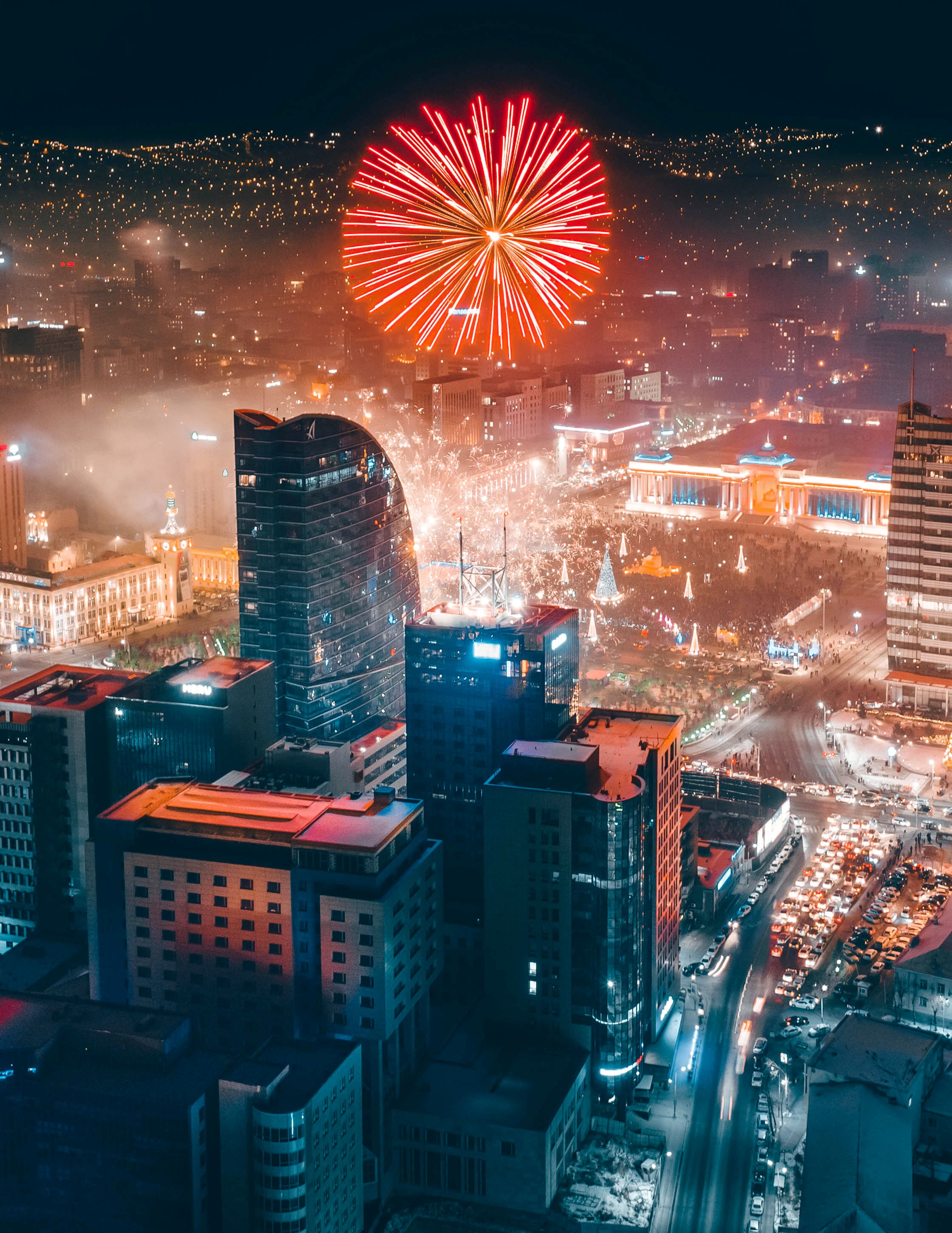 81178 free wallpaper 1080x2400 for phone, download images Holidays, Night, City, Building, Lights, View From Above, Fireworks, Firework 1080x2400 for mobile
