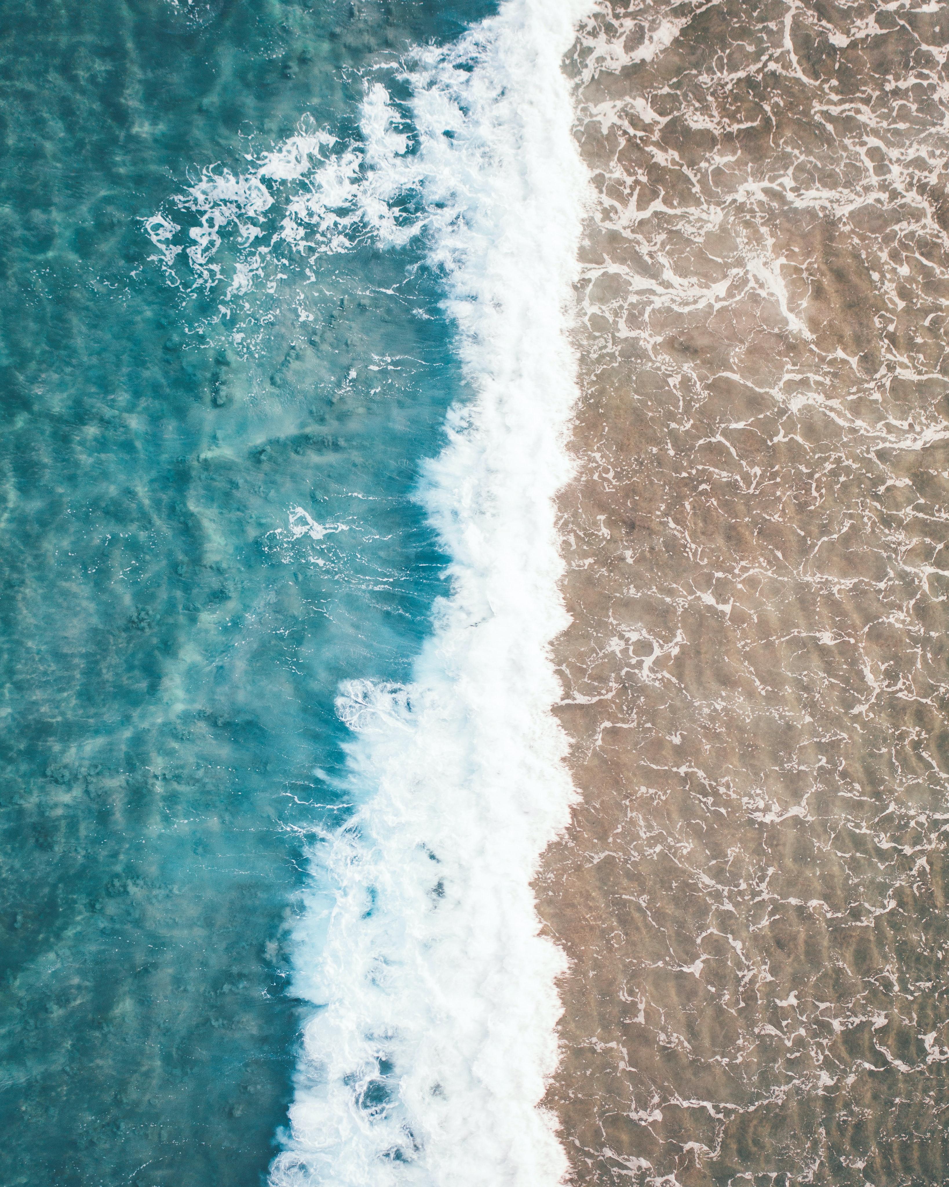 60403 Salvapantallas y fondos de pantalla Mar en tu teléfono. Descarga imágenes de Naturaleza, Mar, Onda, Ola, Vista Desde Arriba, Agua, Arena gratis