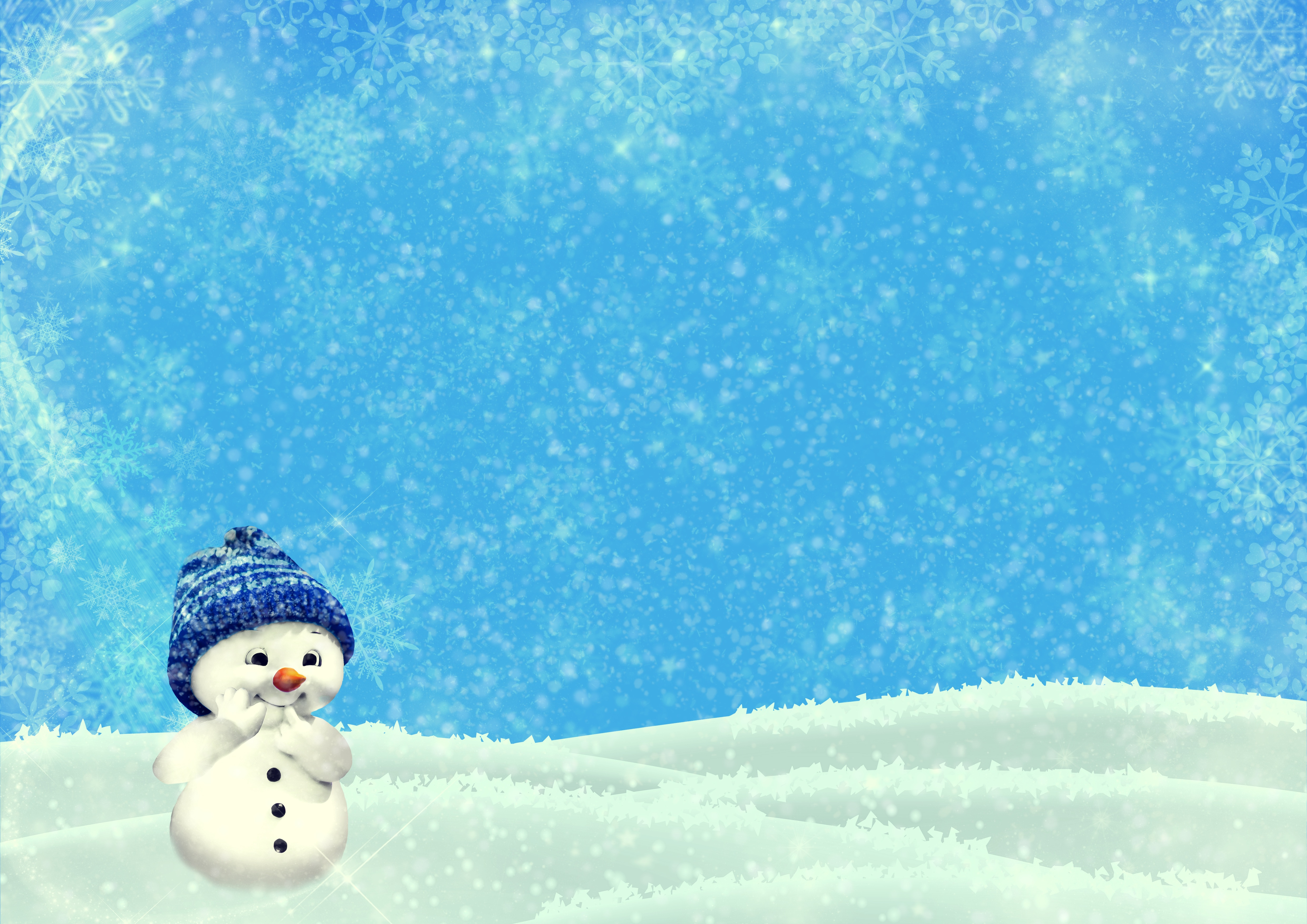 100235 download wallpaper Holidays, Snowman, Winter, Christmas, New Year, Nice, Sweetheart, Illustration screensavers and pictures for free