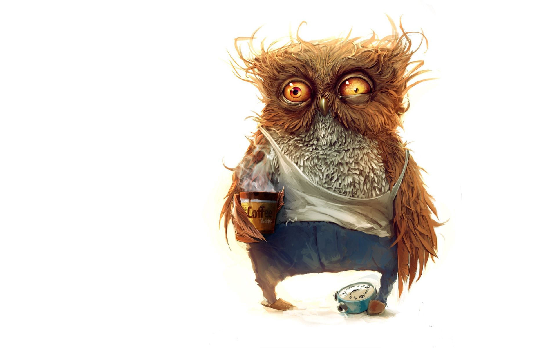 51543 Screensavers and Wallpapers Art for phone. Download Art, Owl, Coffee, Alarm Clock pictures for free