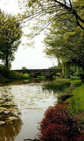 25275 скачать обои Пейзаж, Река, Мосты, Деревья, Трава - заставки и картинки бесплатно