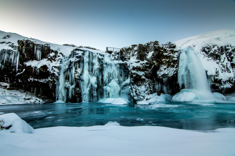 87786 скачать обои Природа, Водопад, Лед, Снег, Зима, Обрыв, Сумерки - заставки и картинки бесплатно