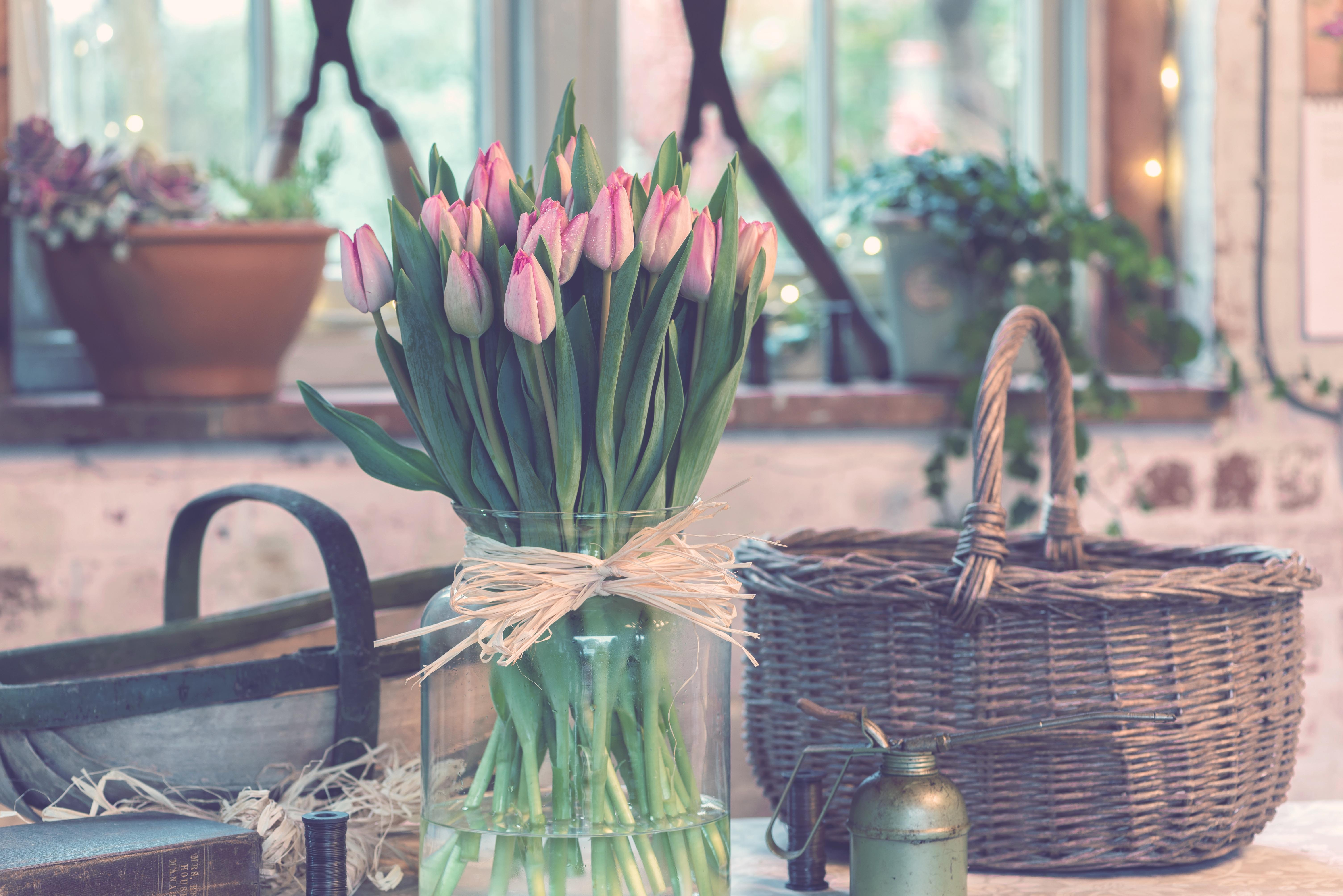 70596 Hintergrundbild herunterladen Tulpen, Blumen, Strauß, Bouquet, Vase - Bildschirmschoner und Bilder kostenlos