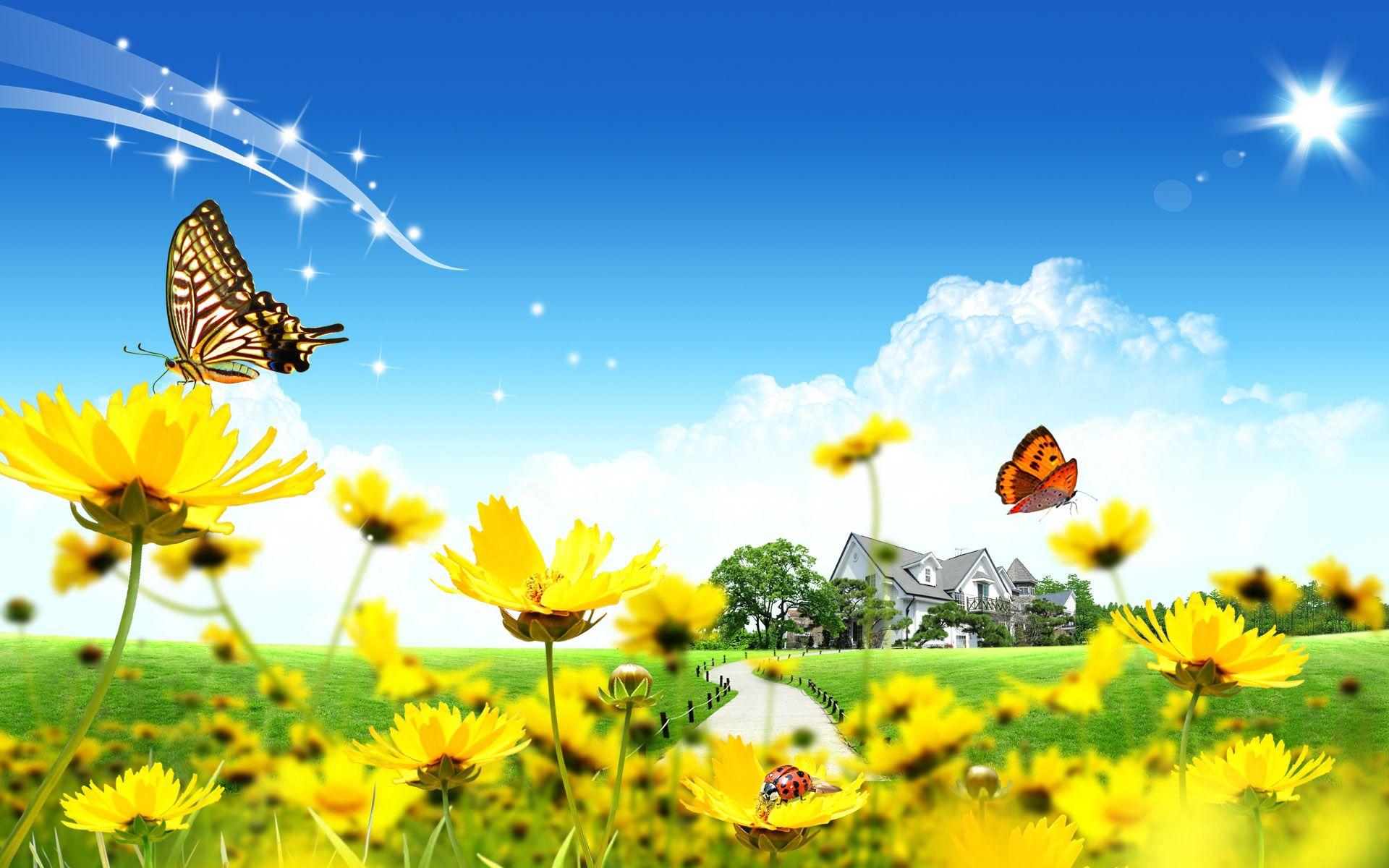 73286 скачать обои Вектор, Цветы, Божьи Коровки, Дом, Лужайка - заставки и картинки бесплатно