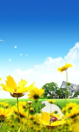 73286 скачать обои Вектор, Дом, Лужайка, Божьи Коровки, Цветы - заставки и картинки бесплатно