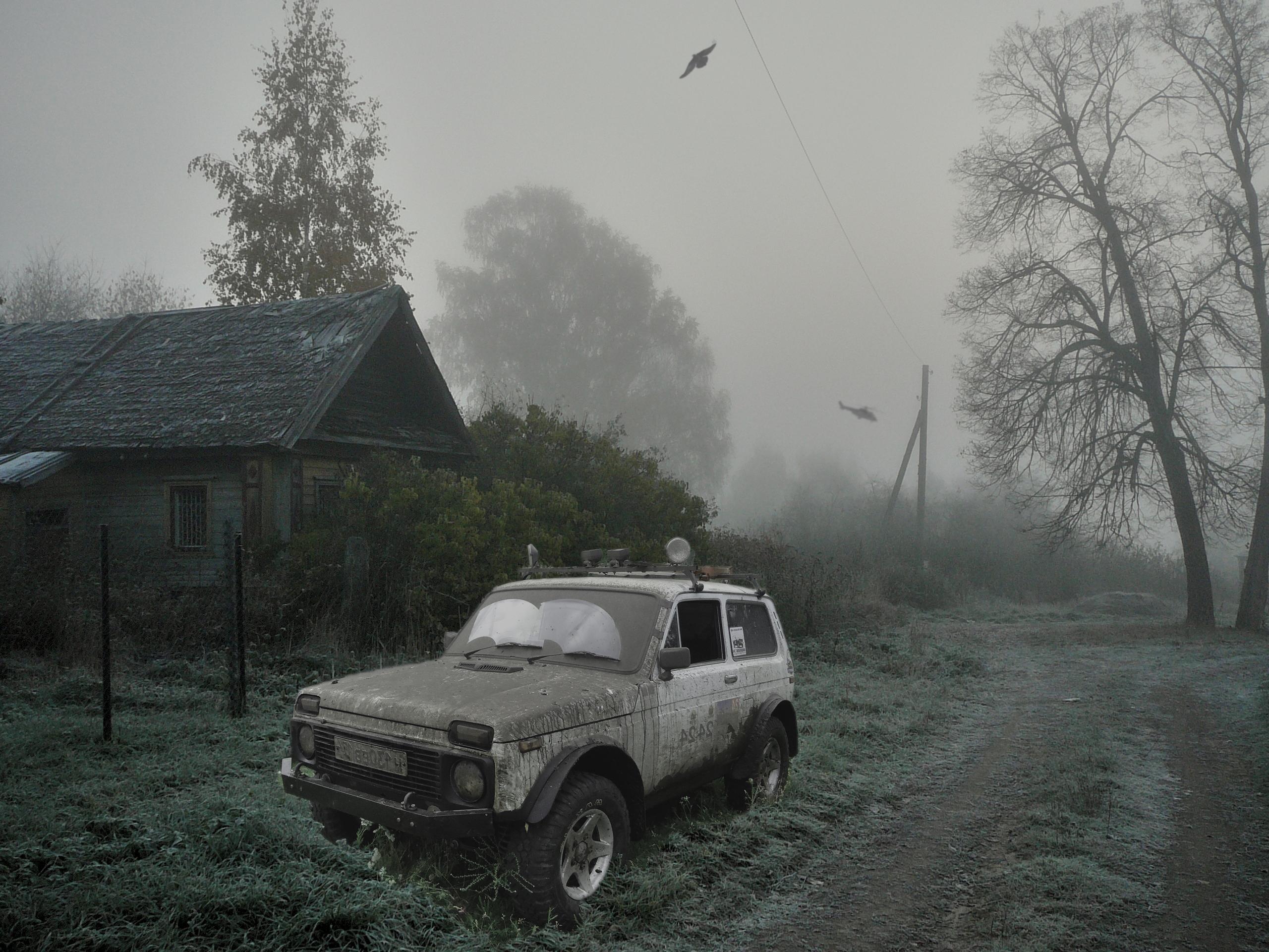 109152 Hintergrundbild herunterladen Hubschrauber, Stalker, Cars, Wald, Monster - Bildschirmschoner und Bilder kostenlos