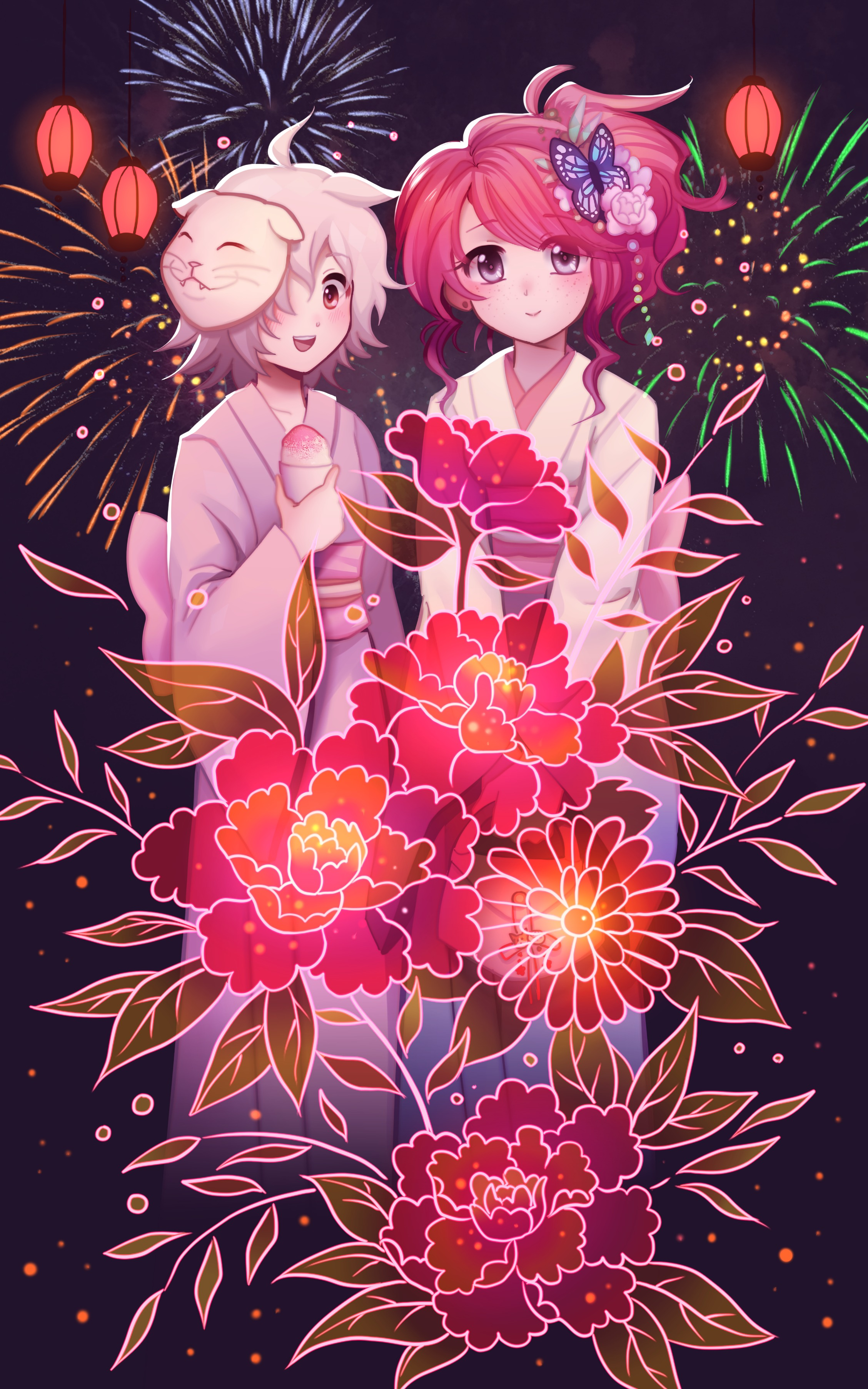 57364 download wallpaper Girls, Fireworks, Firework, Anime, Art, Flowers screensavers and pictures for free