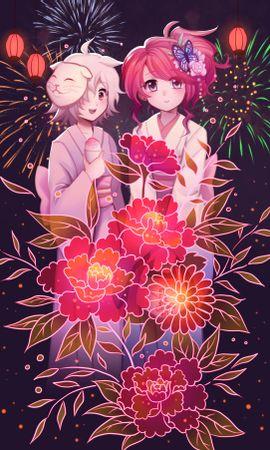 57364 baixar papel de parede Meninas, Fogos De Artifício, Fogo De Artifício, Anime, Arte, Flores - protetores de tela e imagens gratuitamente