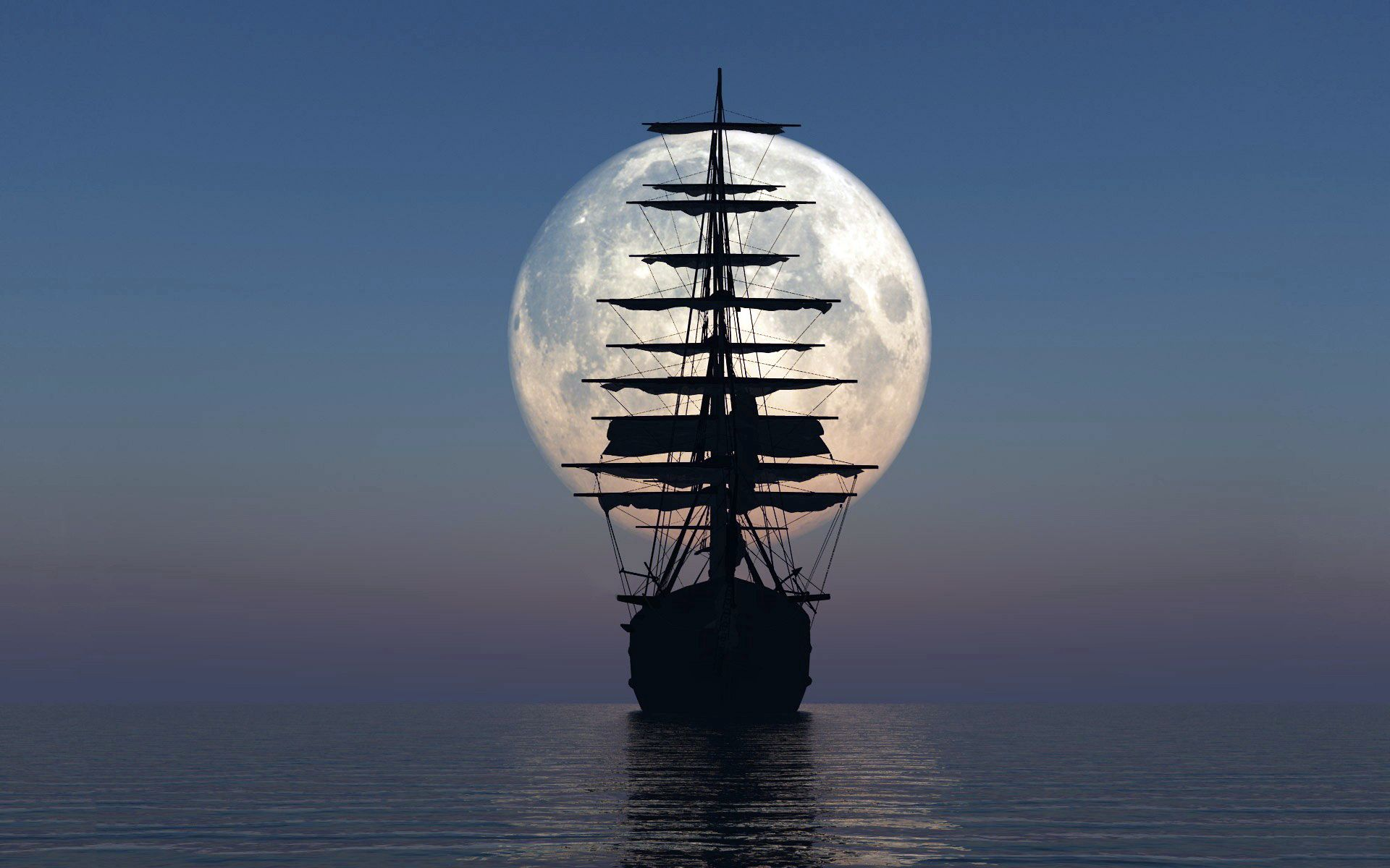 58264 download wallpaper Miscellanea, Miscellaneous, Ship, Sea, Sunset, Moon screensavers and pictures for free