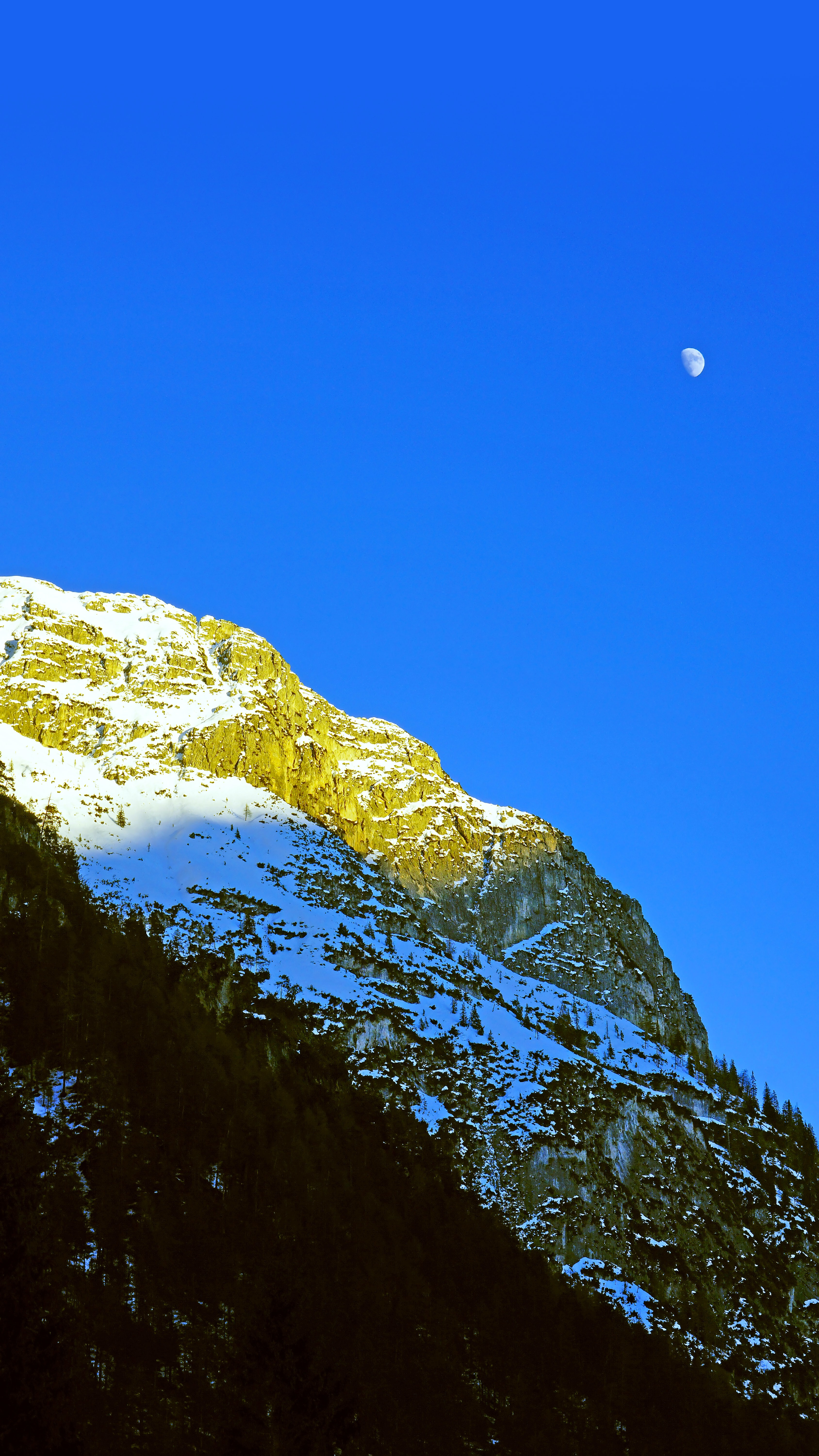 54668 download wallpaper Nature, Rocks, Moon, Trees, Snow Covered, Snowbound, Mountains screensavers and pictures for free