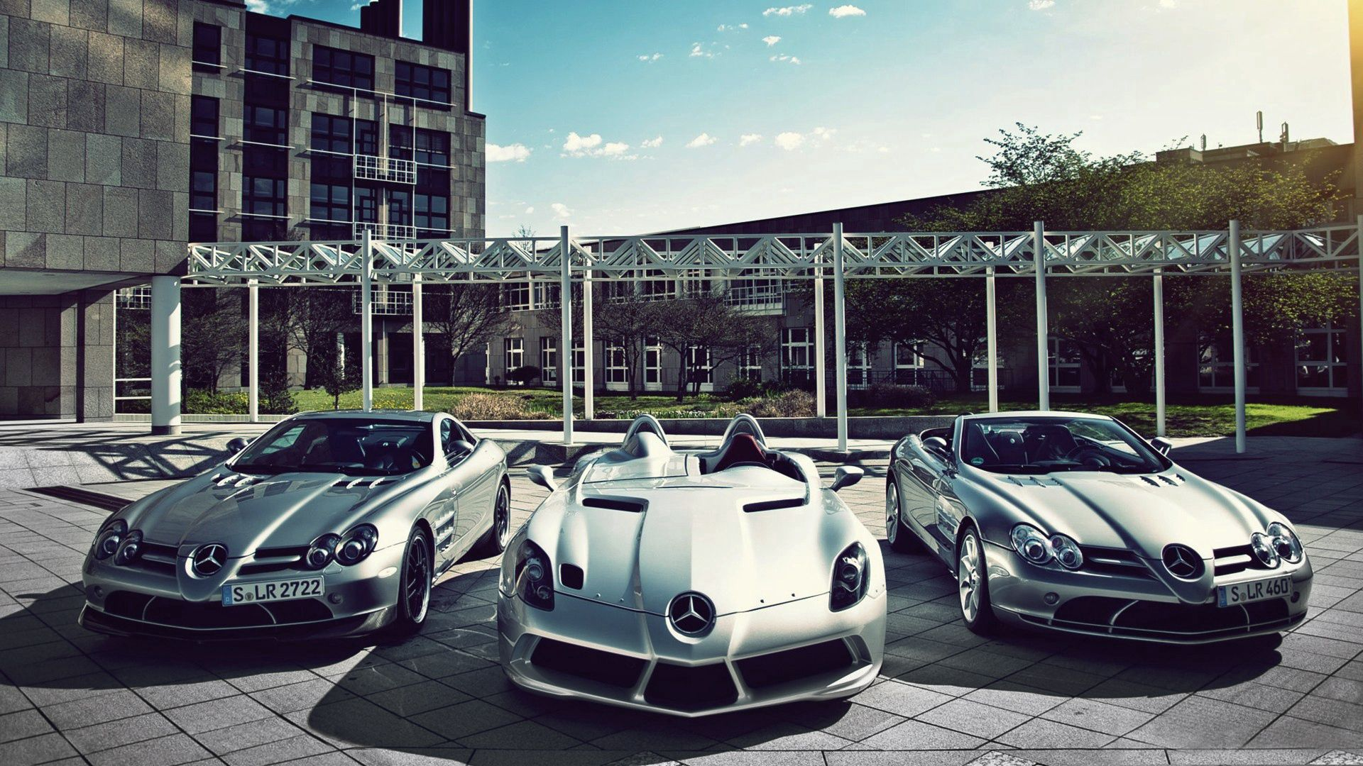 151616 скачать обои Мерседес (Mercedes), Тачки (Cars), Три, Спорткары, Mercedes Slr Mclaren - заставки и картинки бесплатно