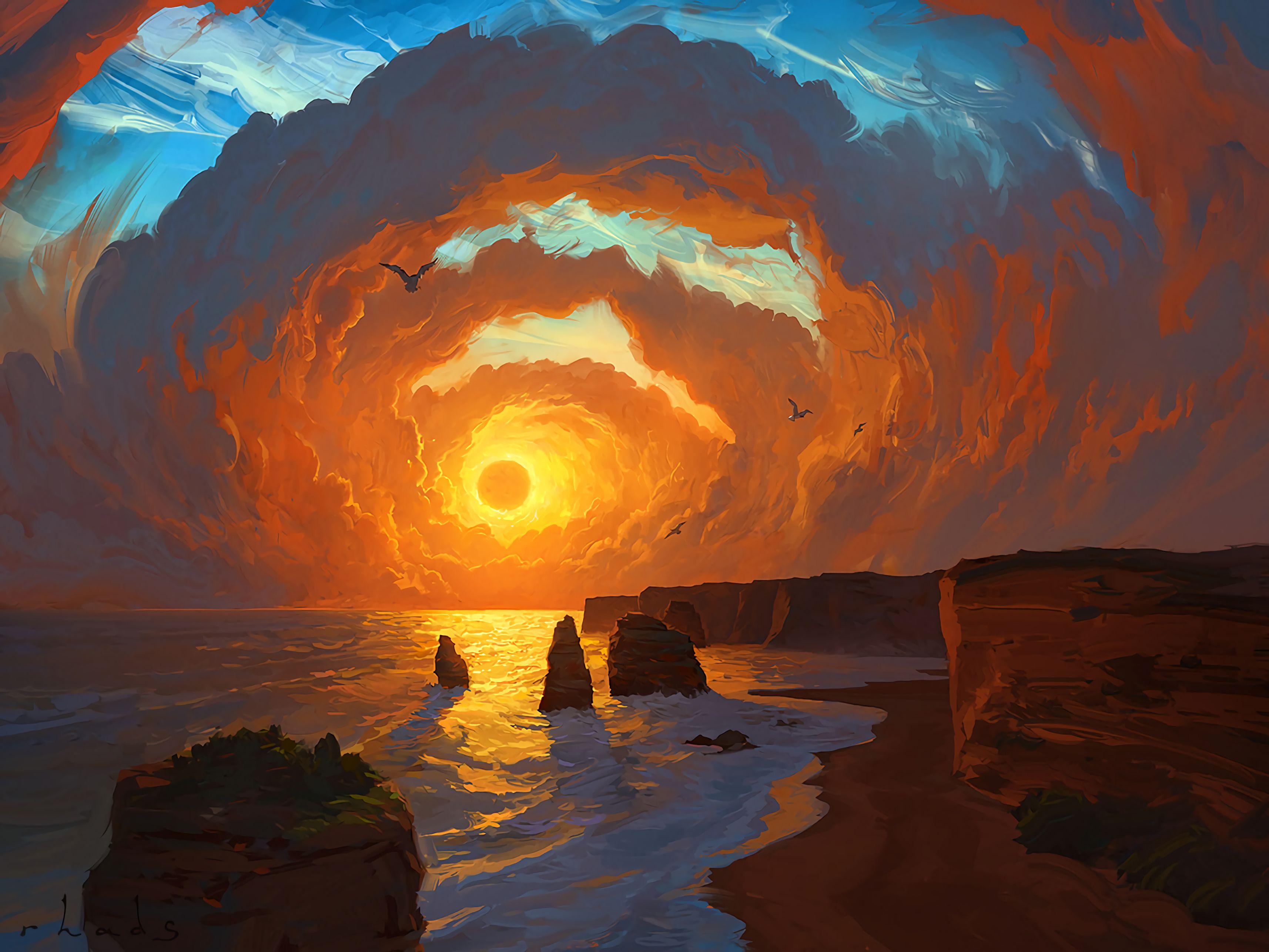 133466壁紙のダウンロード自然, 海, 日没, アート, 岩, スカイ, 雲, 風景-スクリーンセーバーと写真を無料で