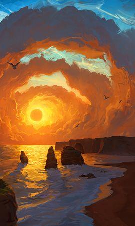 133466 скачать обои Природа, Море, Закат, Арт, Скалы, Небо, Облака, Пейзаж - заставки и картинки бесплатно