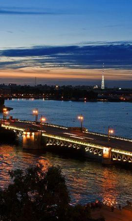 18133 скачать обои Пейзаж, Города, Река, Мосты, Закат - заставки и картинки бесплатно