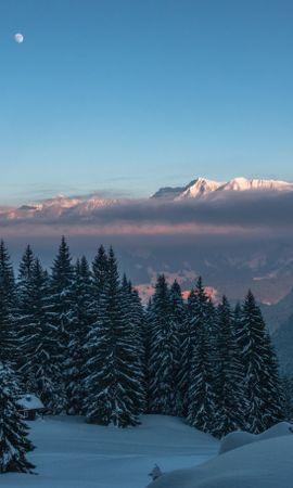 67716 Salvapantallas y fondos de pantalla Nieve en tu teléfono. Descarga imágenes de Naturaleza, Invierno, Nieve, Árboles, Oscuridad, Crepúsculo, Montañas gratis