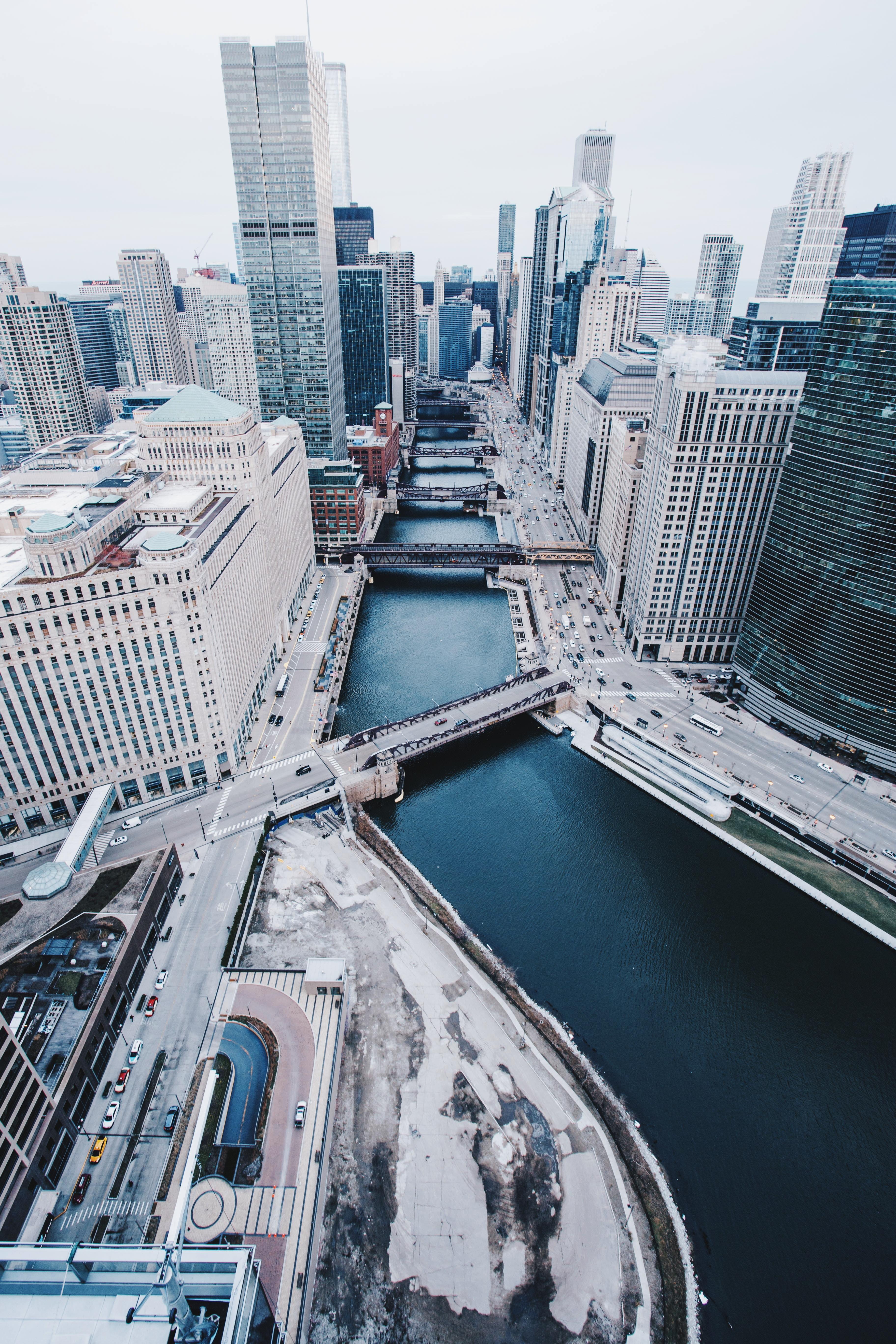 157232 скачать обои Мосты, Города, Вид Сверху, Небоскребы, Сша, Чикаго - заставки и картинки бесплатно