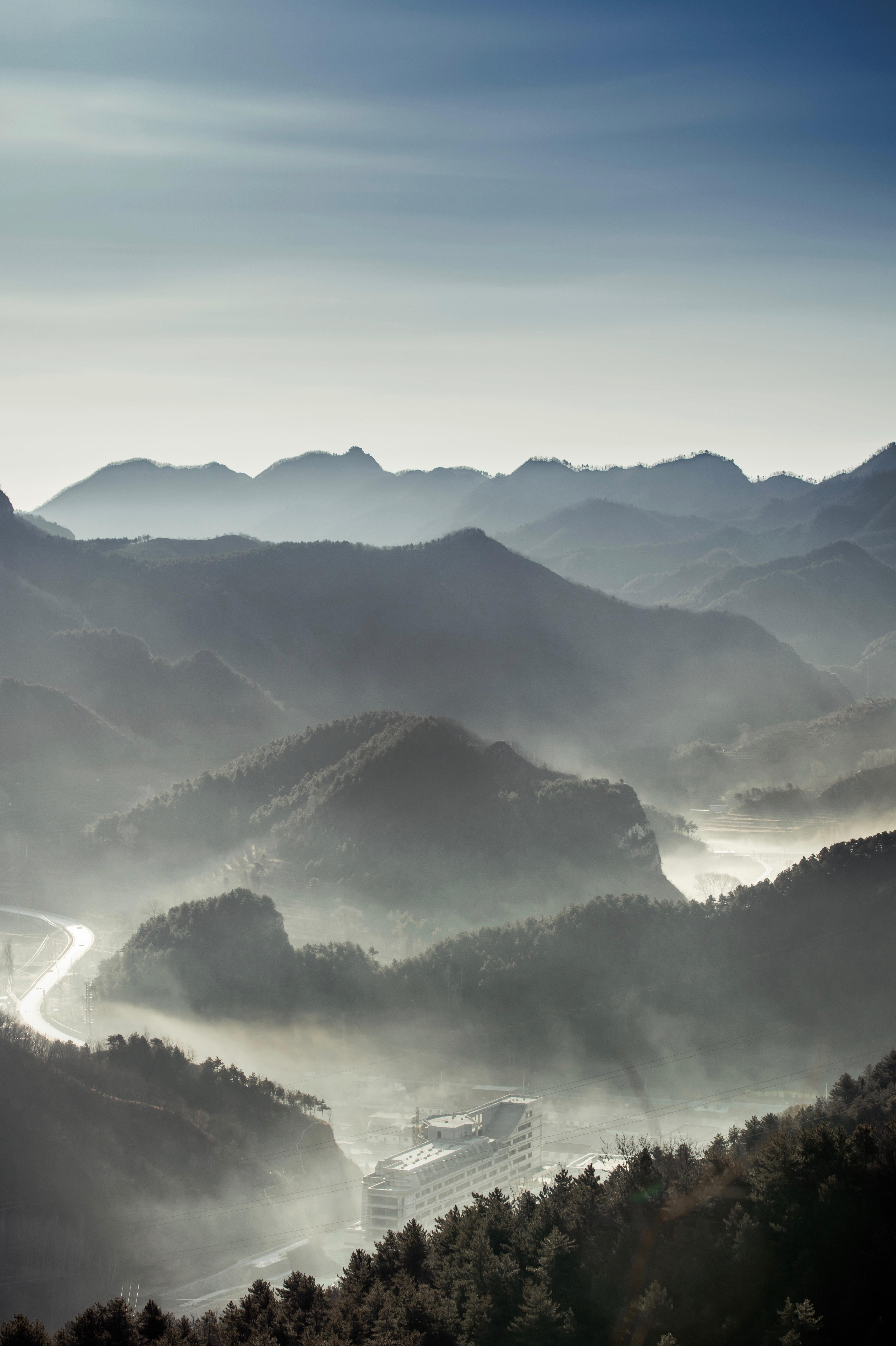 58849 免費下載壁紙 性质, 多雾路段, 雾, 森林, 从上面看, 顶视图, 山 屏保和圖片