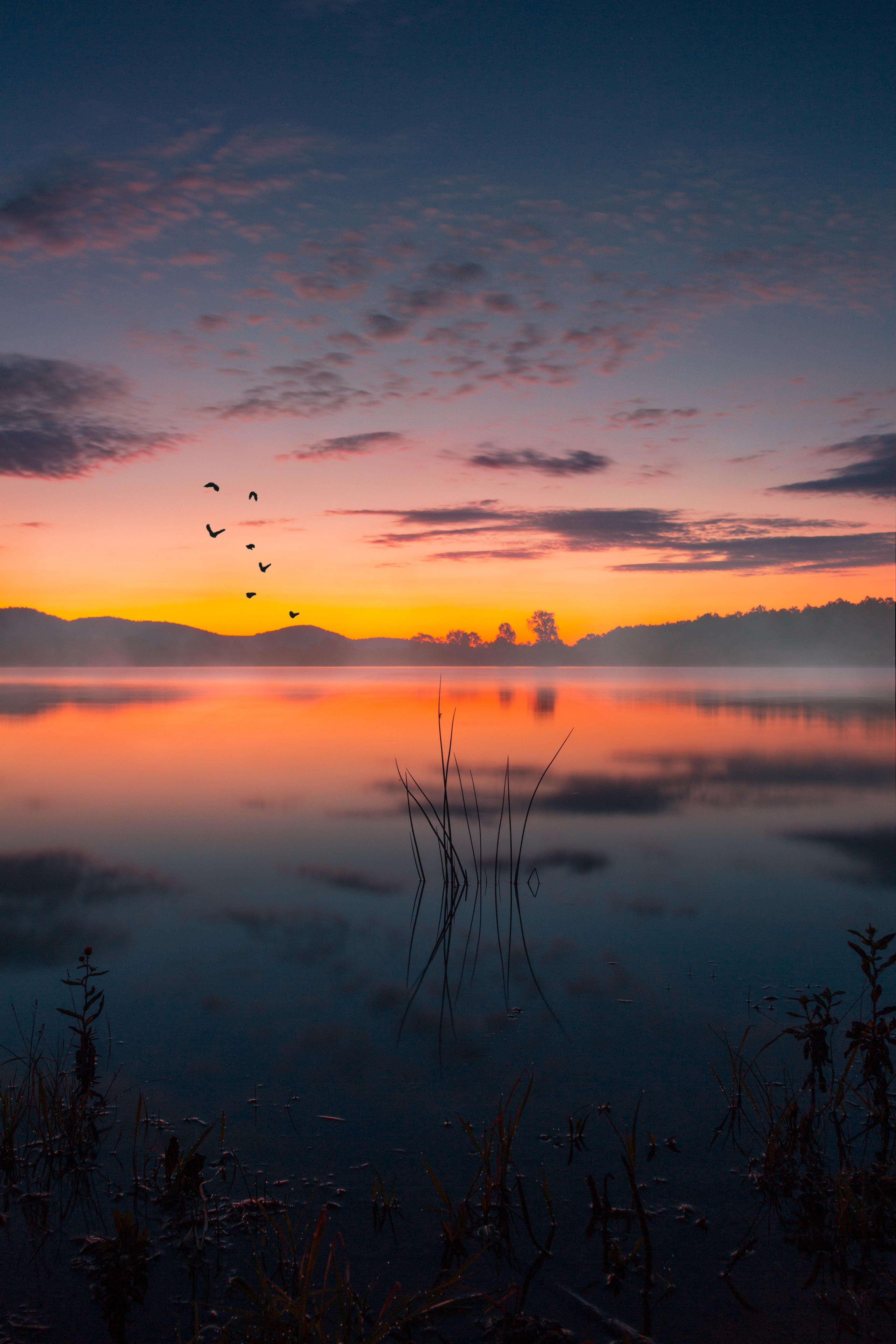 59658 Hintergrundbild herunterladen Landschaft, Natur, Sunset, See, Nebel, Dämmerung, Twilight - Bildschirmschoner und Bilder kostenlos