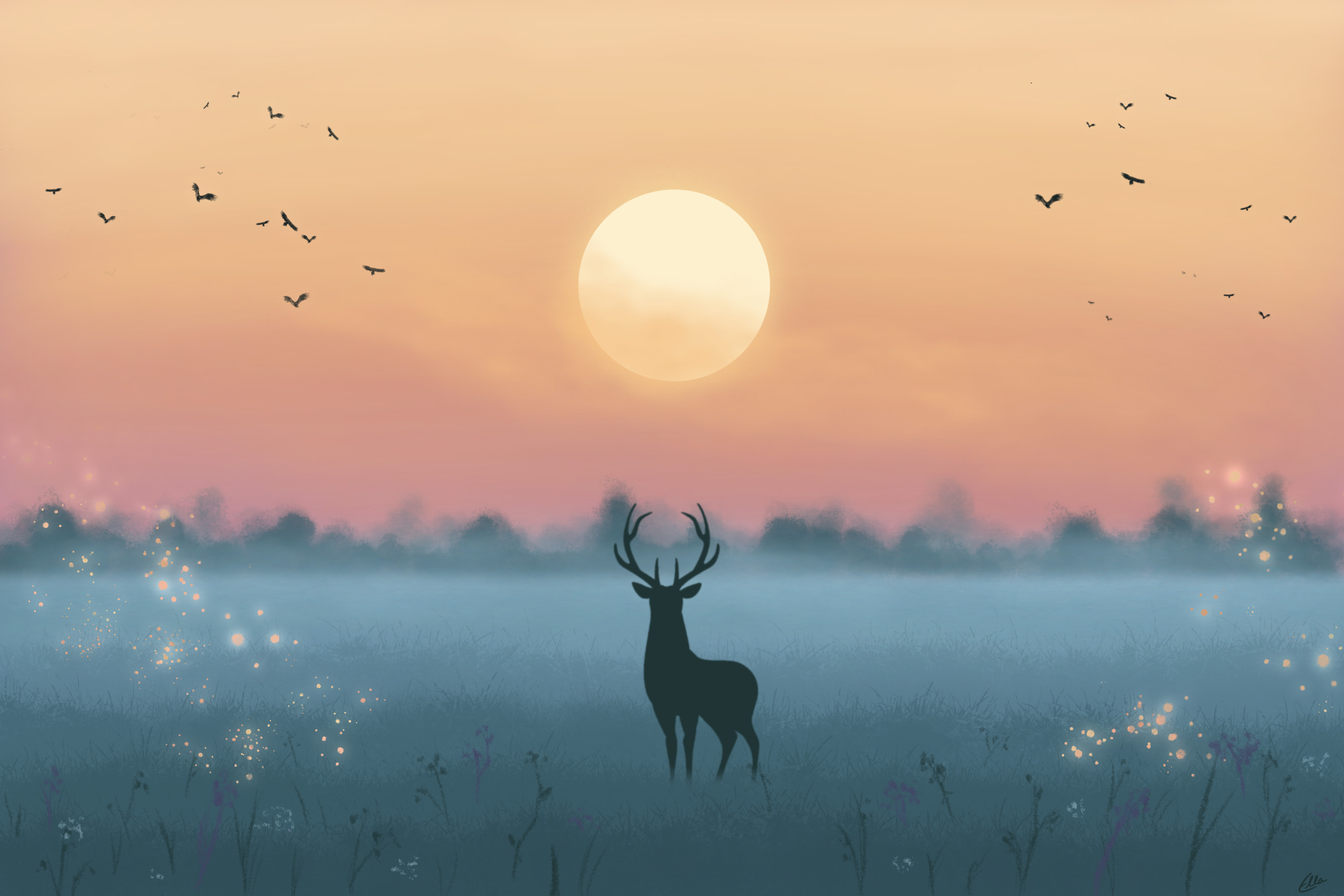 128857 download wallpaper Deer, Silhouette, Moon, Night, Art screensavers and pictures for free