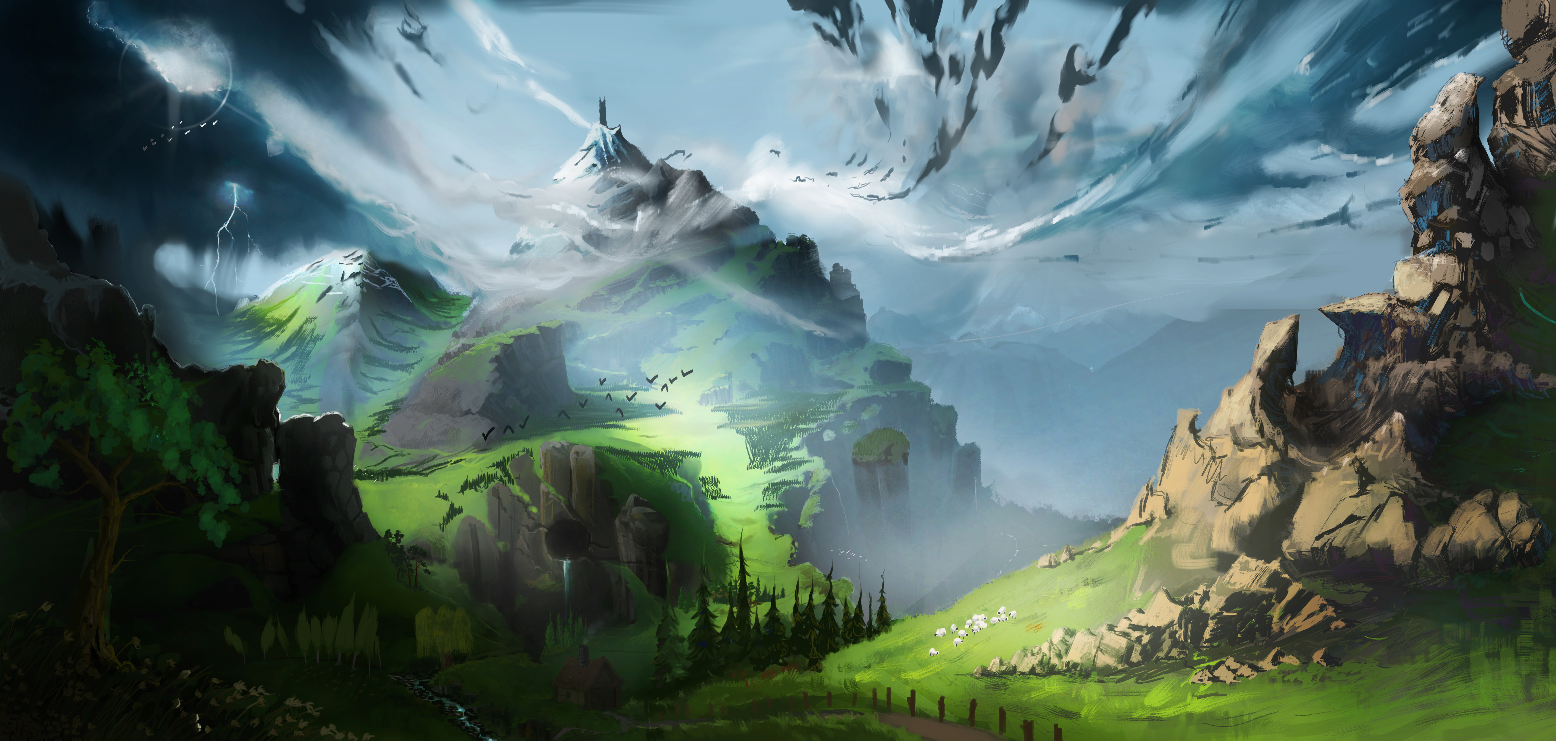90451 Screensavers and Wallpapers Fiction for phone. Download Landscape, Art, Mountain, Fiction, That's Incredible pictures for free