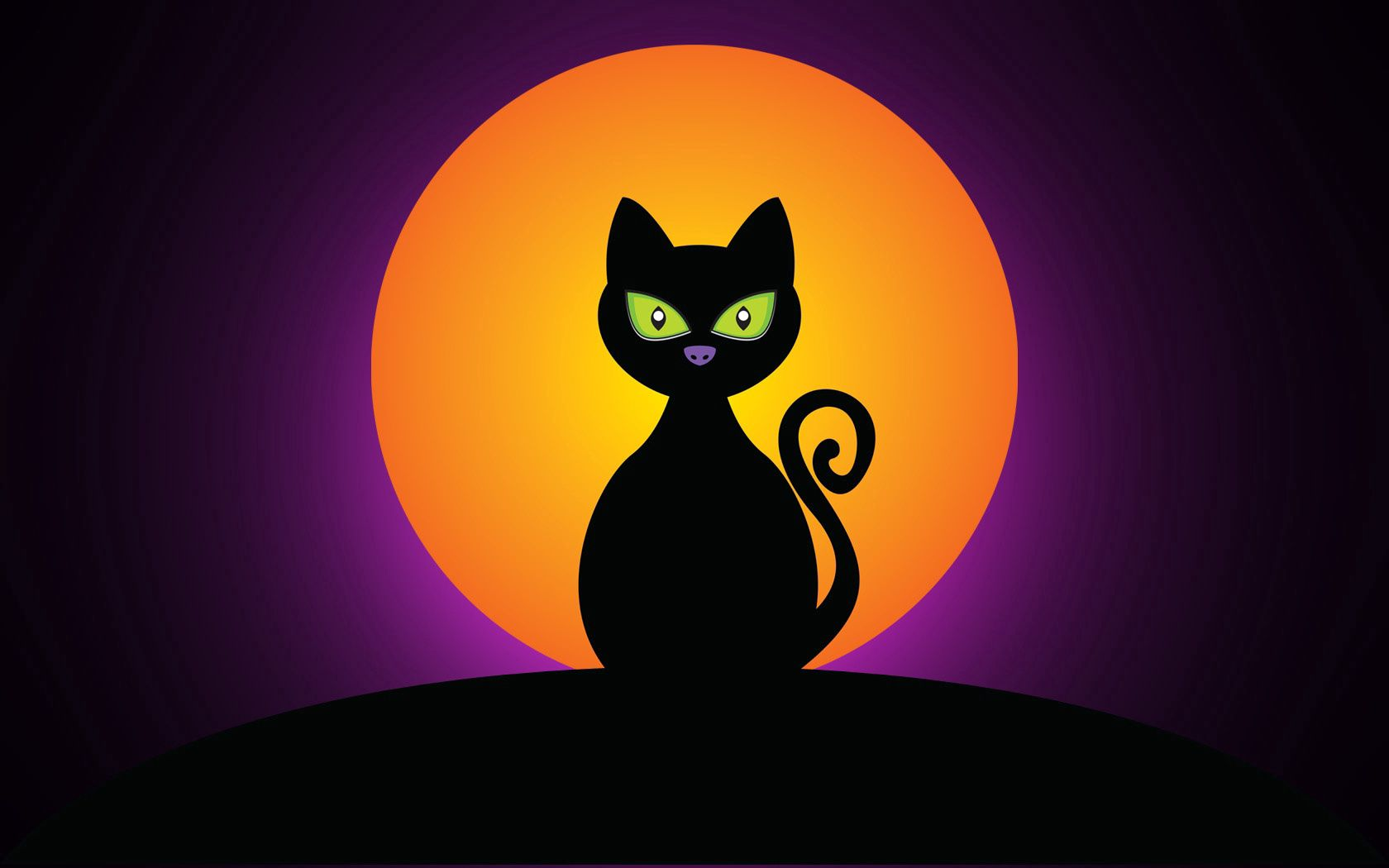 144112 download wallpaper Halloween, Moon, Vector, Silhouette, Cat screensavers and pictures for free