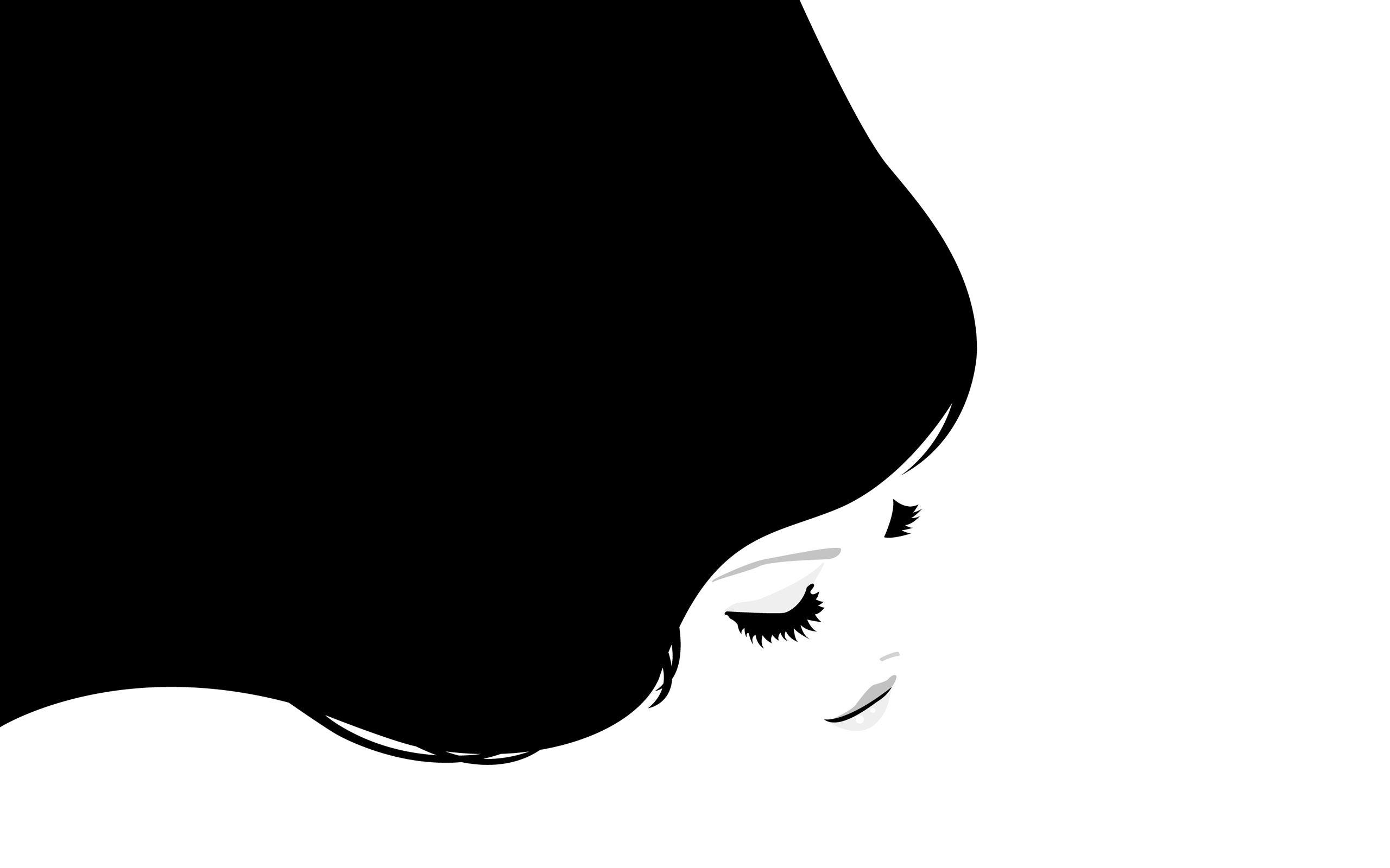 80025 descarga Blanco fondos de pantalla para tu teléfono gratis, Vector, Niña, Muchacha, Cabello, Brillar, Luz, El Negro Blanco imágenes y protectores de pantalla para tu teléfono