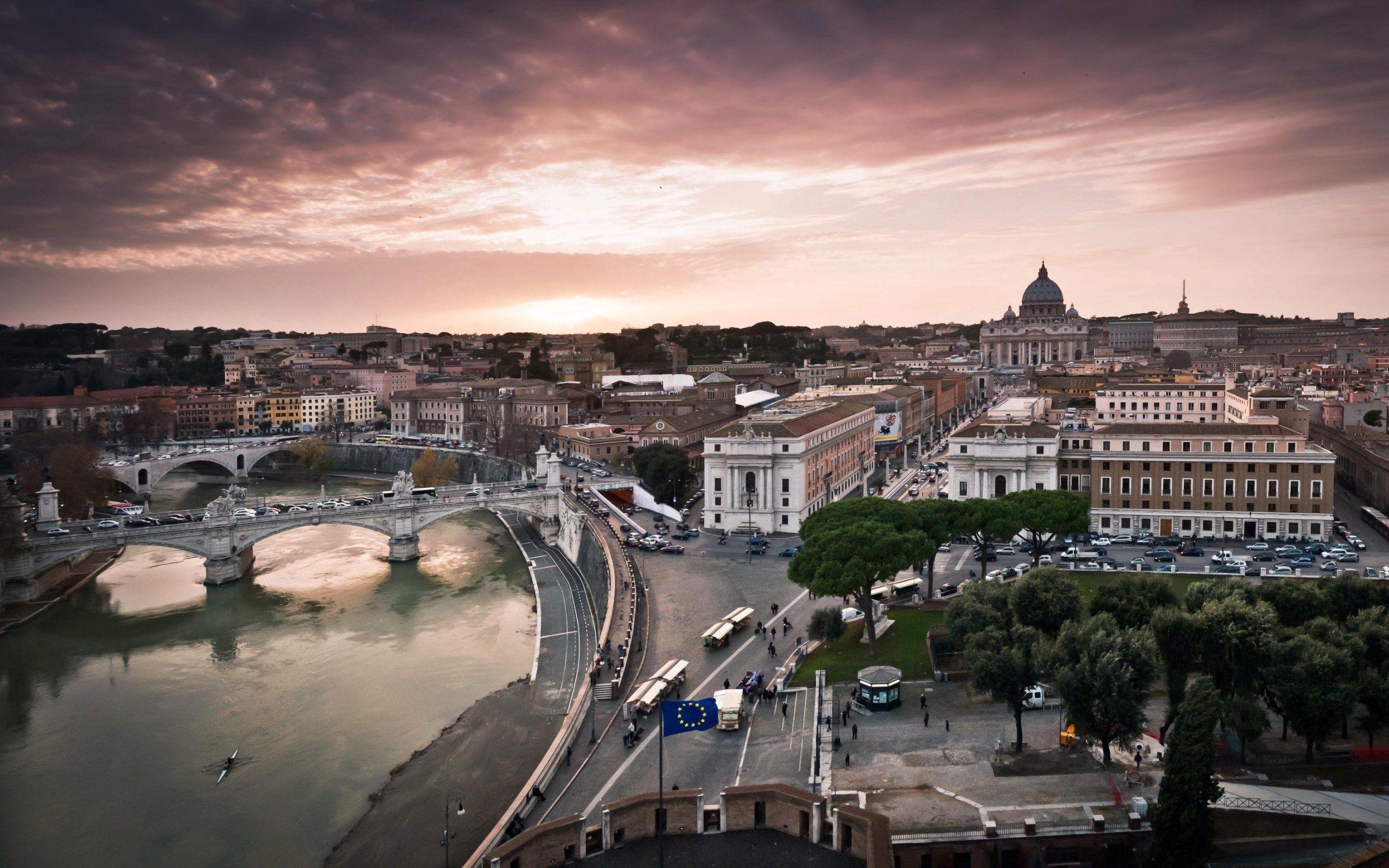 77237壁紙のダウンロード市, 都市, イブニング, 夕方, パノラマ, ローマ, イタリア, 建物, アーキテクチャ-スクリーンセーバーと写真を無料で