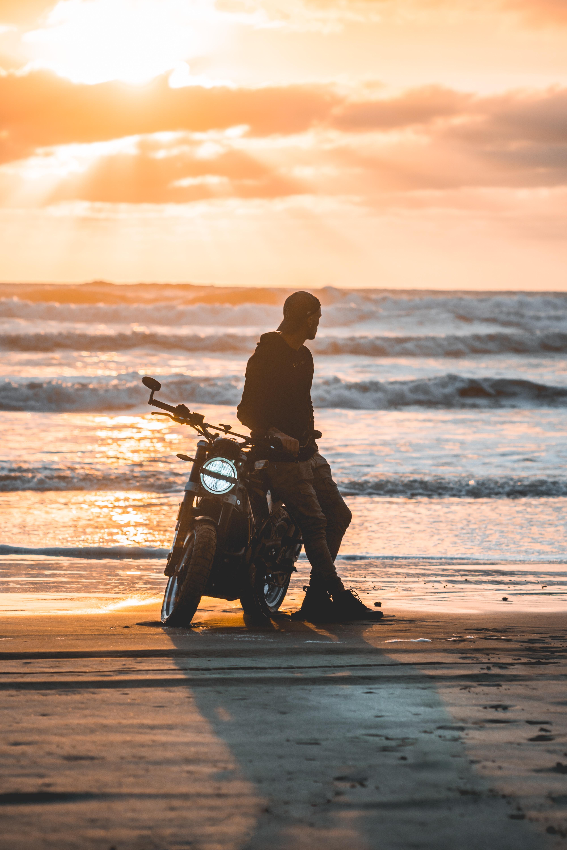 128056 Заставки и Обои Мотоциклы на телефон. Скачать Мотоциклы, Закат, Силуэт, Мотоциклист, Мотоцикл, Одиночество картинки бесплатно