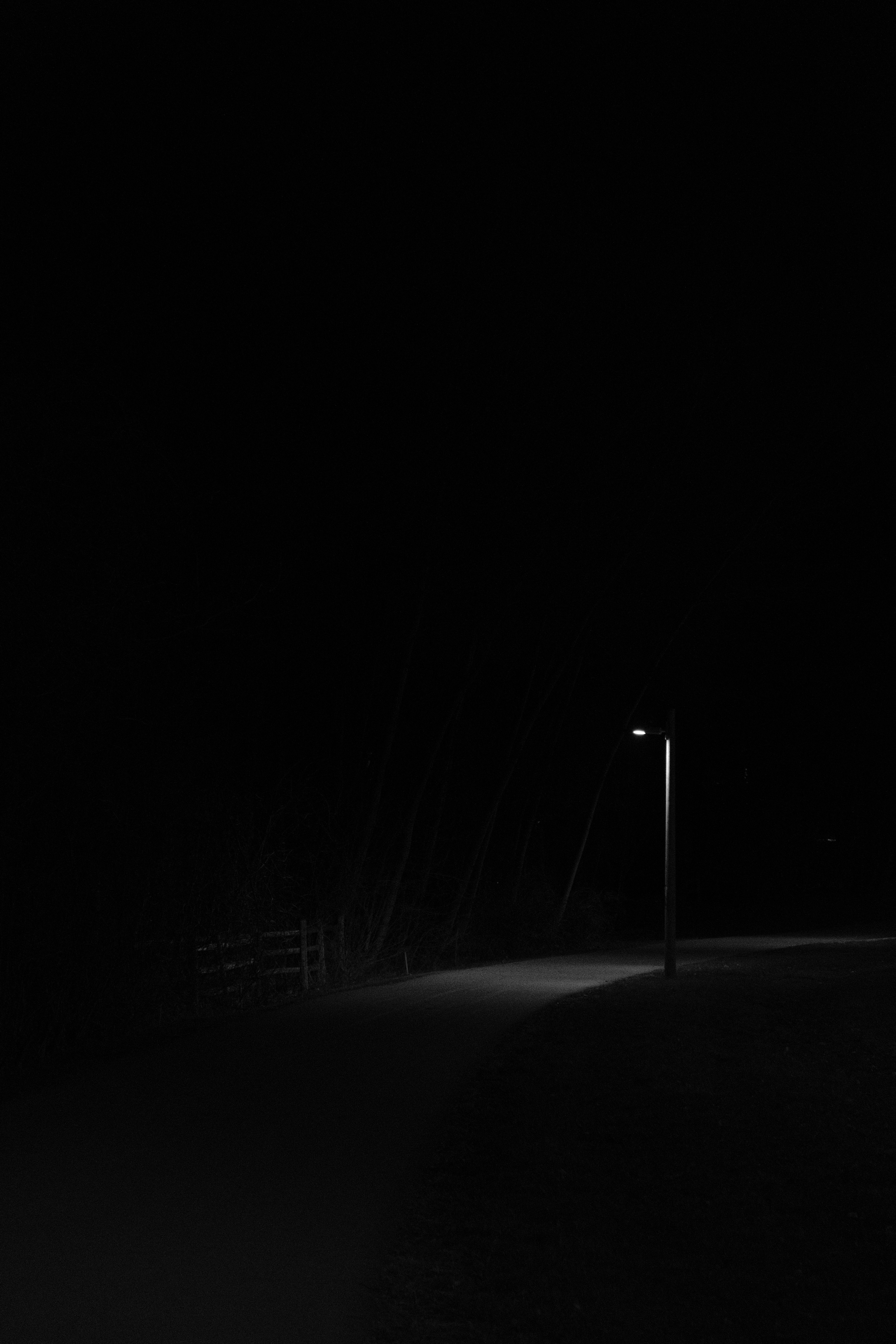142728 Screensavers and Wallpapers Bw for phone. Download Night, Road, Lamp, Lantern, Bw, Chb, Glow pictures for free