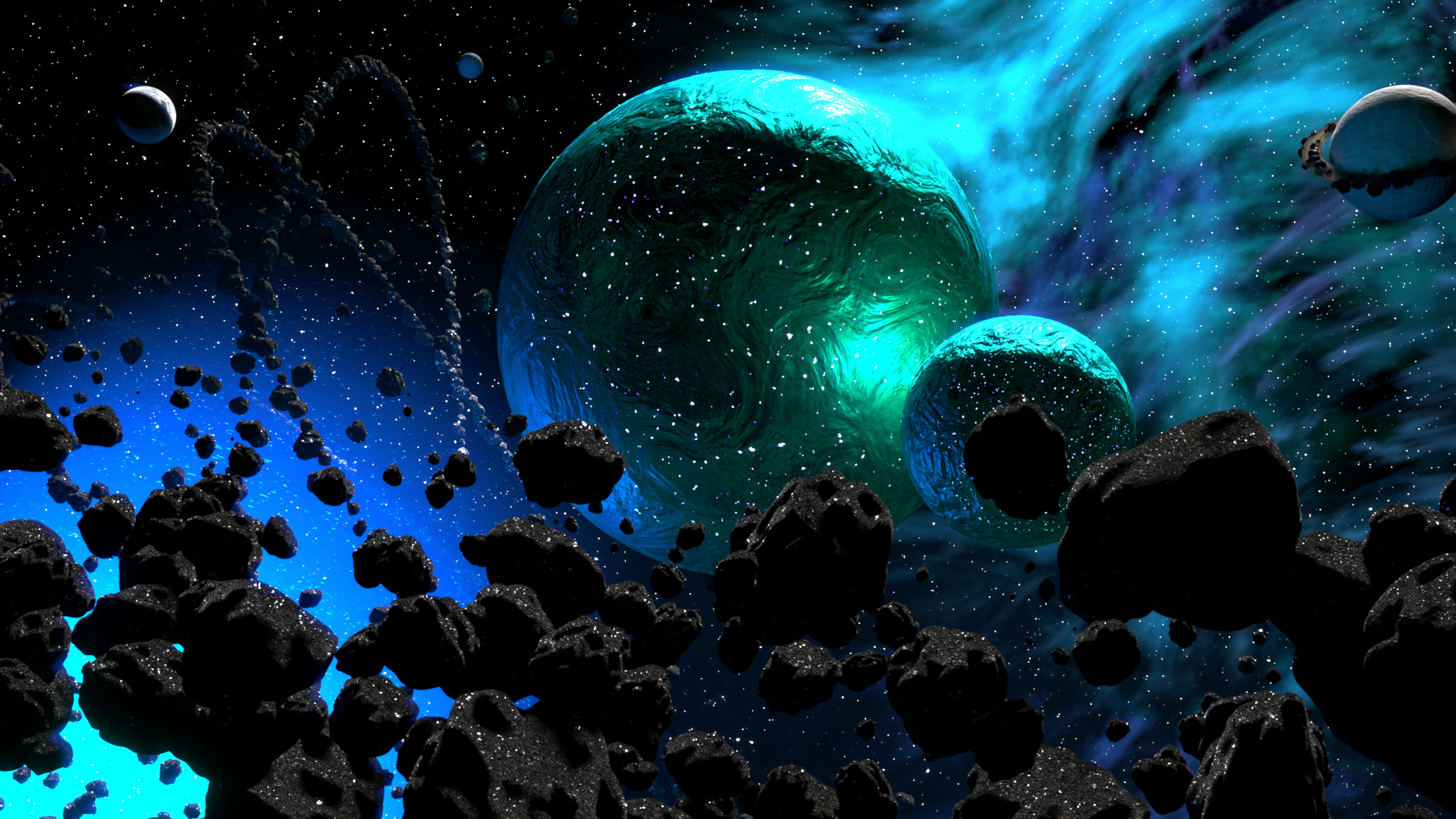 112110 download wallpaper Asteroids, Universe, Nebula, Galaxy, Planets screensavers and pictures for free