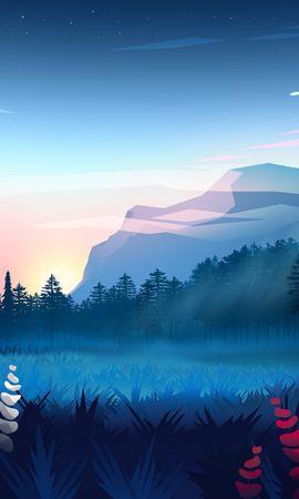 142456 télécharger le fond d'écran Vecteur, Pelouse, Forêt, Brouillard, Art, Montagnes, Paysage - économiseurs d'écran et images gratuitement