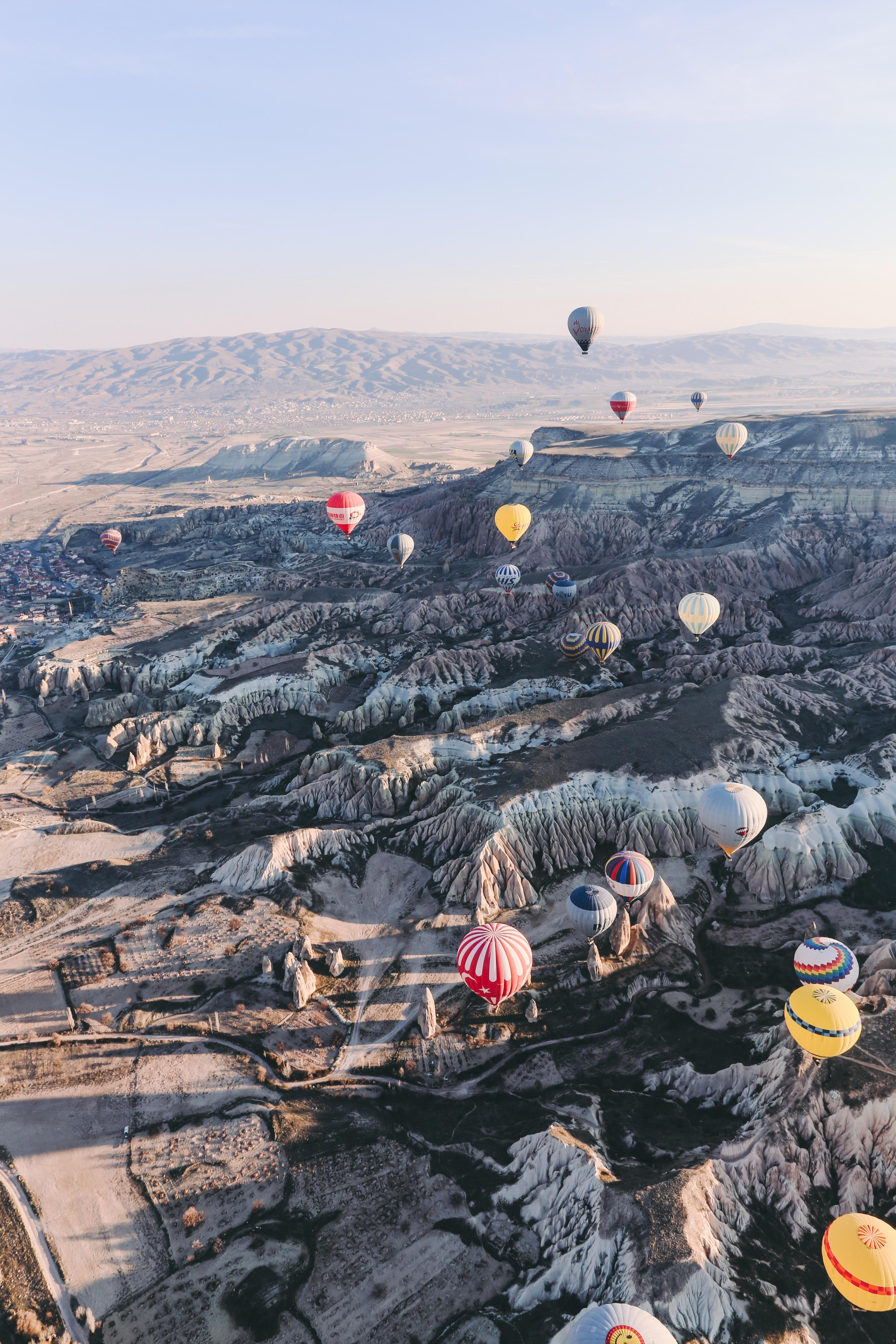 109314 скачать обои Природа, Скалы, Полет, Вид Сверху, Каппадокия, Гереме, Воздушные Шары - заставки и картинки бесплатно