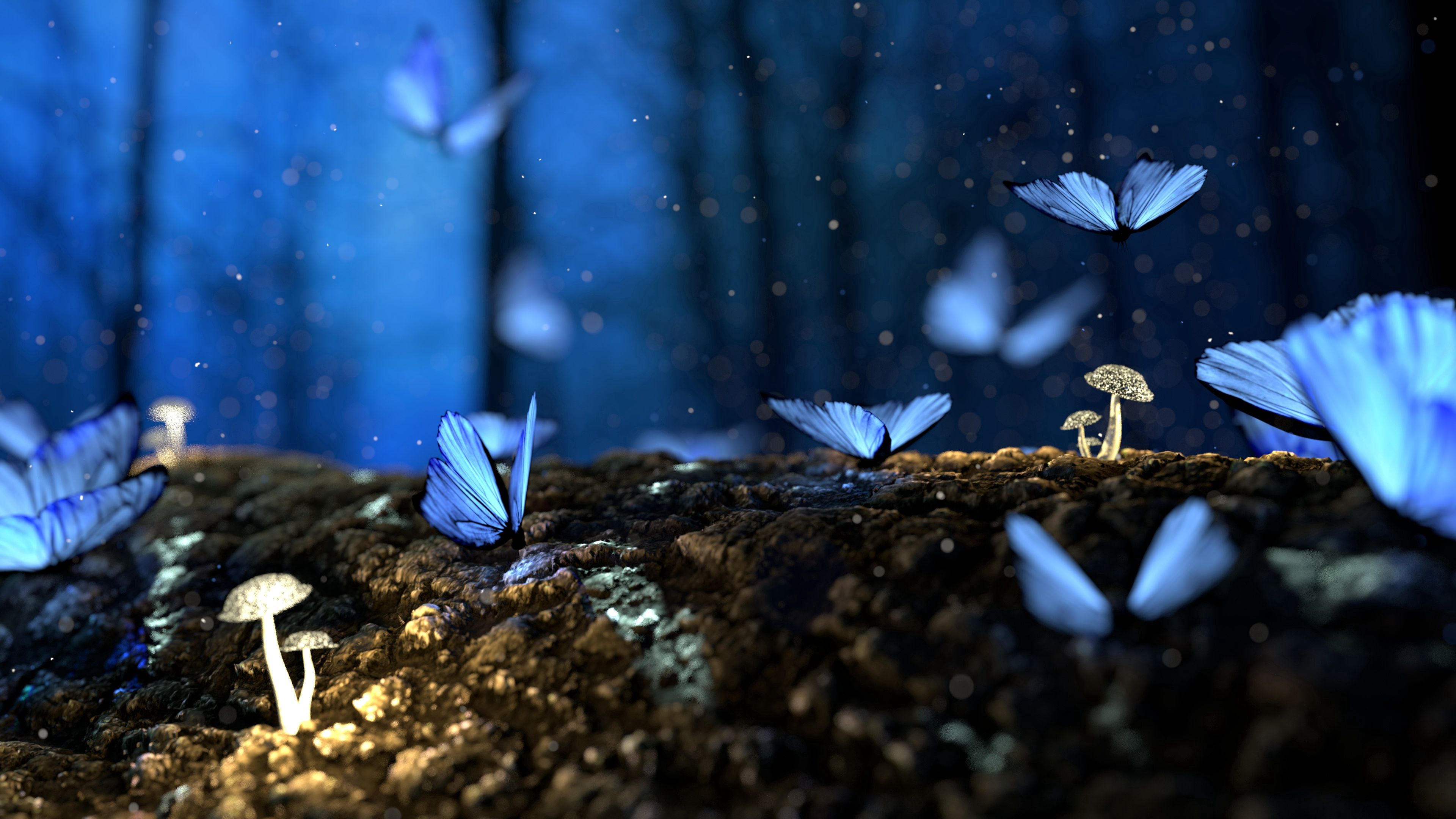 143890 download wallpaper Butterflies, Fantasy, Mashrooms, Macro, Forest screensavers and pictures for free