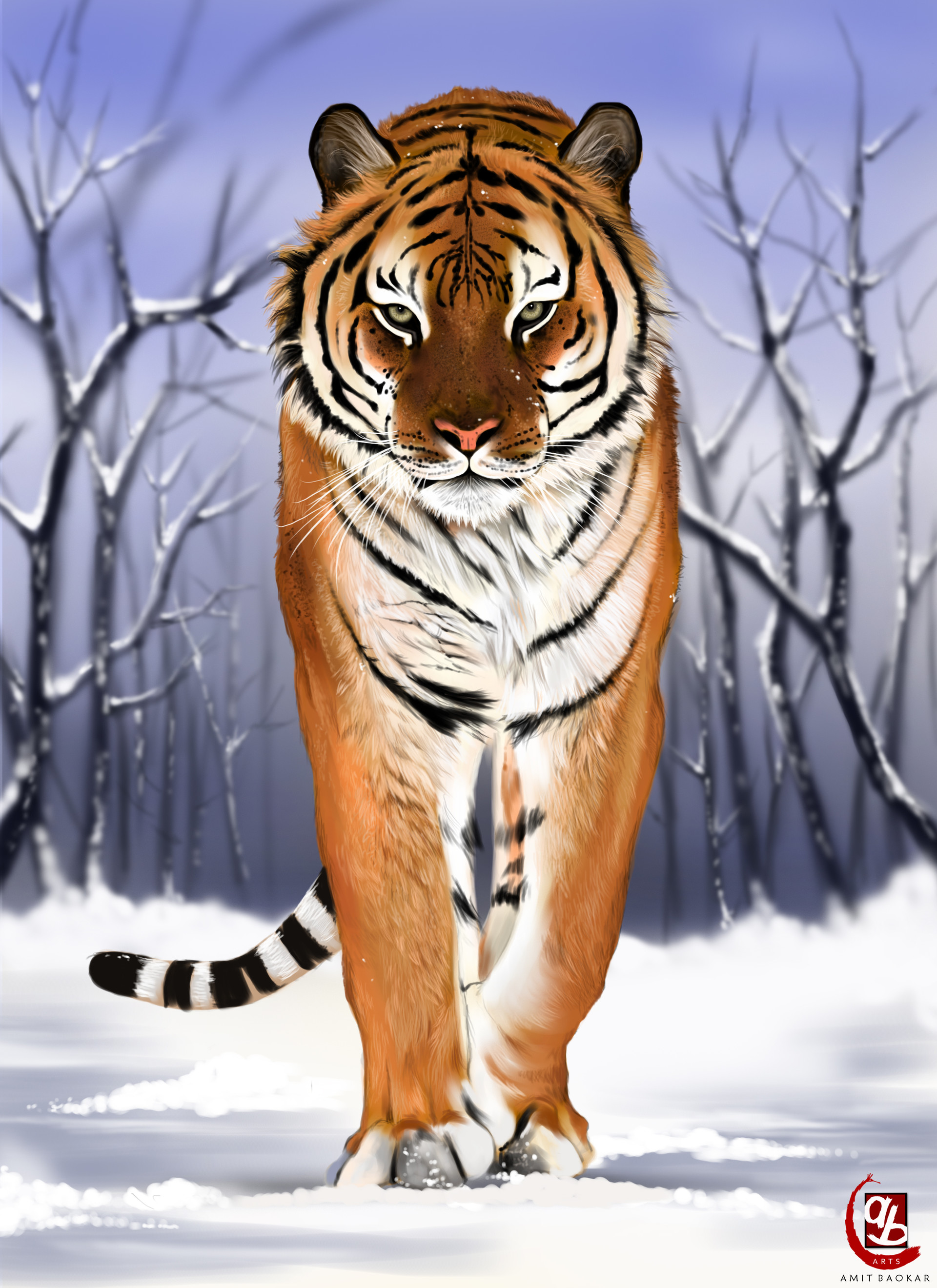 93903 download wallpaper Tiger, Predator, Big Cat, Snow, Art screensavers and pictures for free