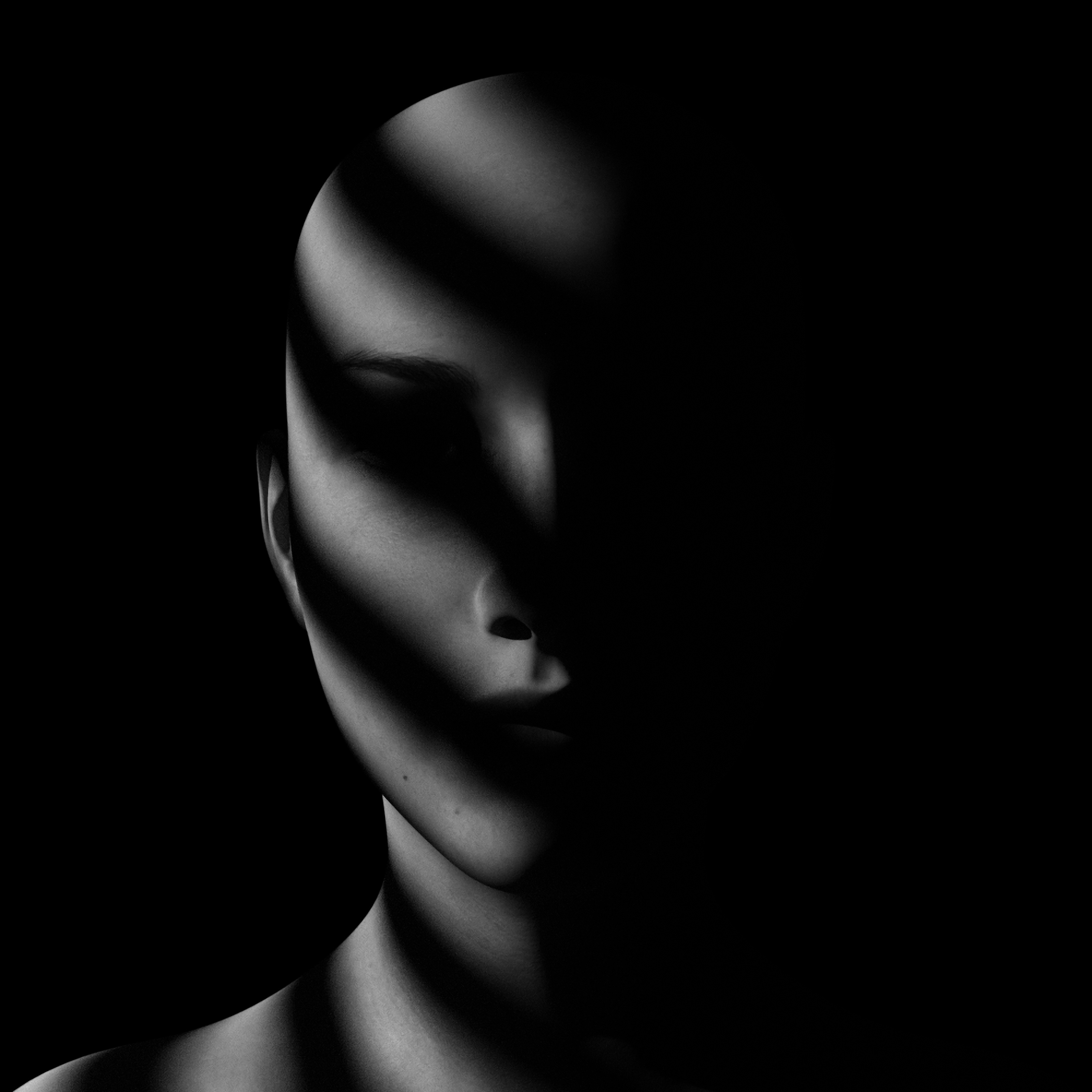 111891 Screensavers and Wallpapers Bw for phone. Download Dark, Shadow, Bw, Chb, Portrait, Face, Doll, Noir pictures for free