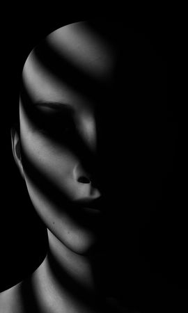 111891壁紙のダウンロード面, 顔, 影, 闇, 暗い, Bw, Chb, ノワール, ポートレート, 肖像, 人形-スクリーンセーバーと写真を無料で