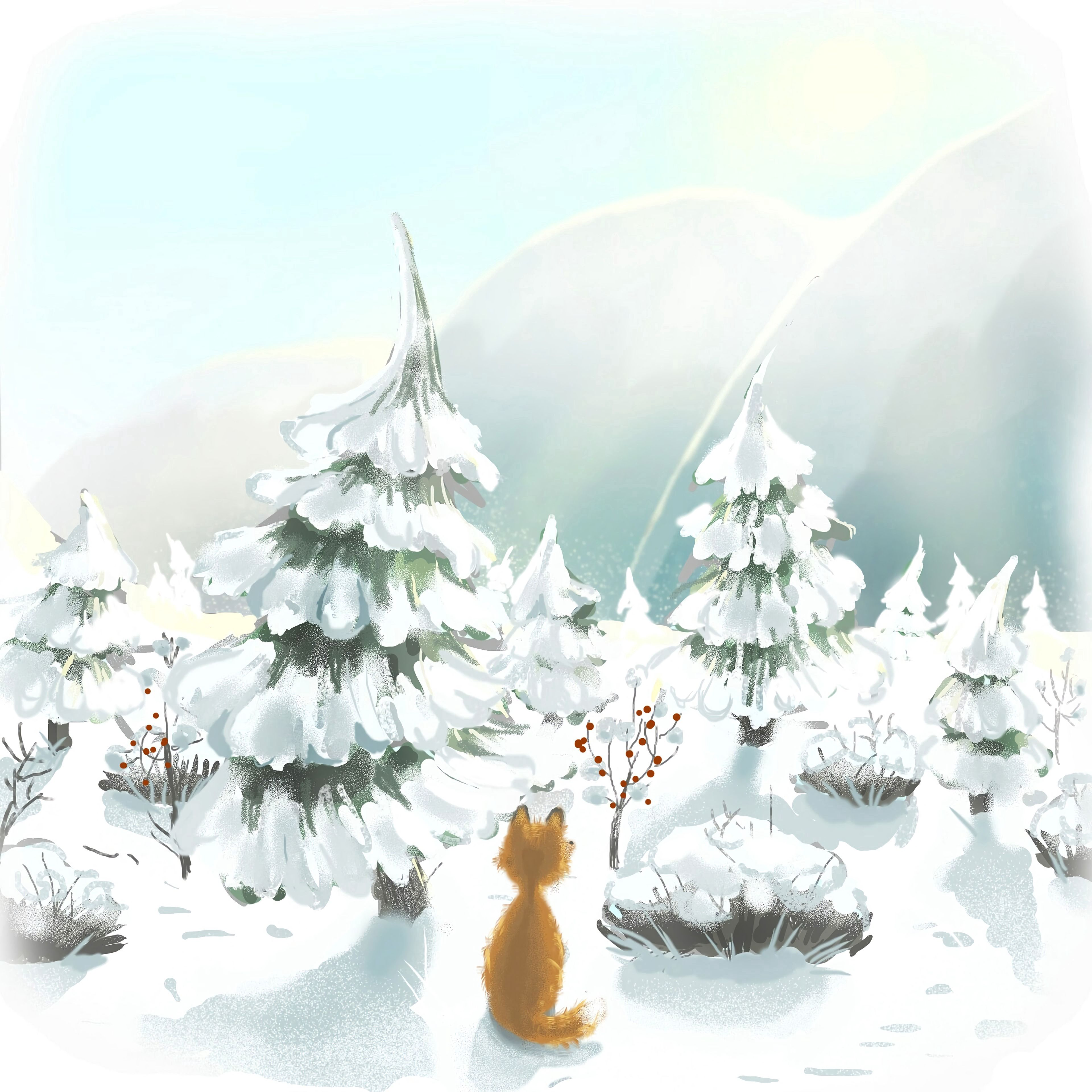 77346 Screensavers and Wallpapers Fox for phone. Download Winter, Trees, Art, Snow, Fox pictures for free