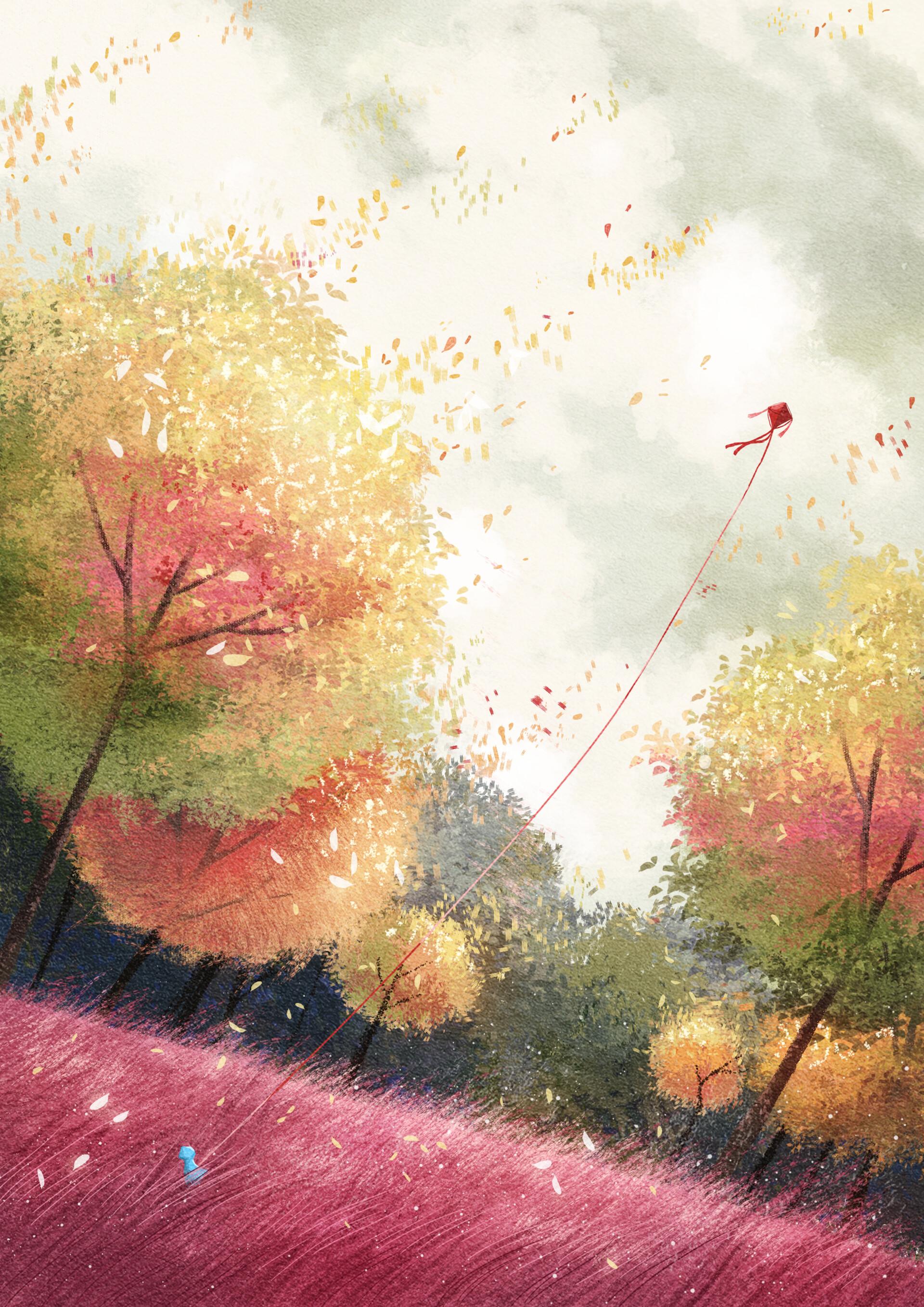 133929 скачать обои Арт, Деревья, Осень, Лес, Воздушный Змей - заставки и картинки бесплатно