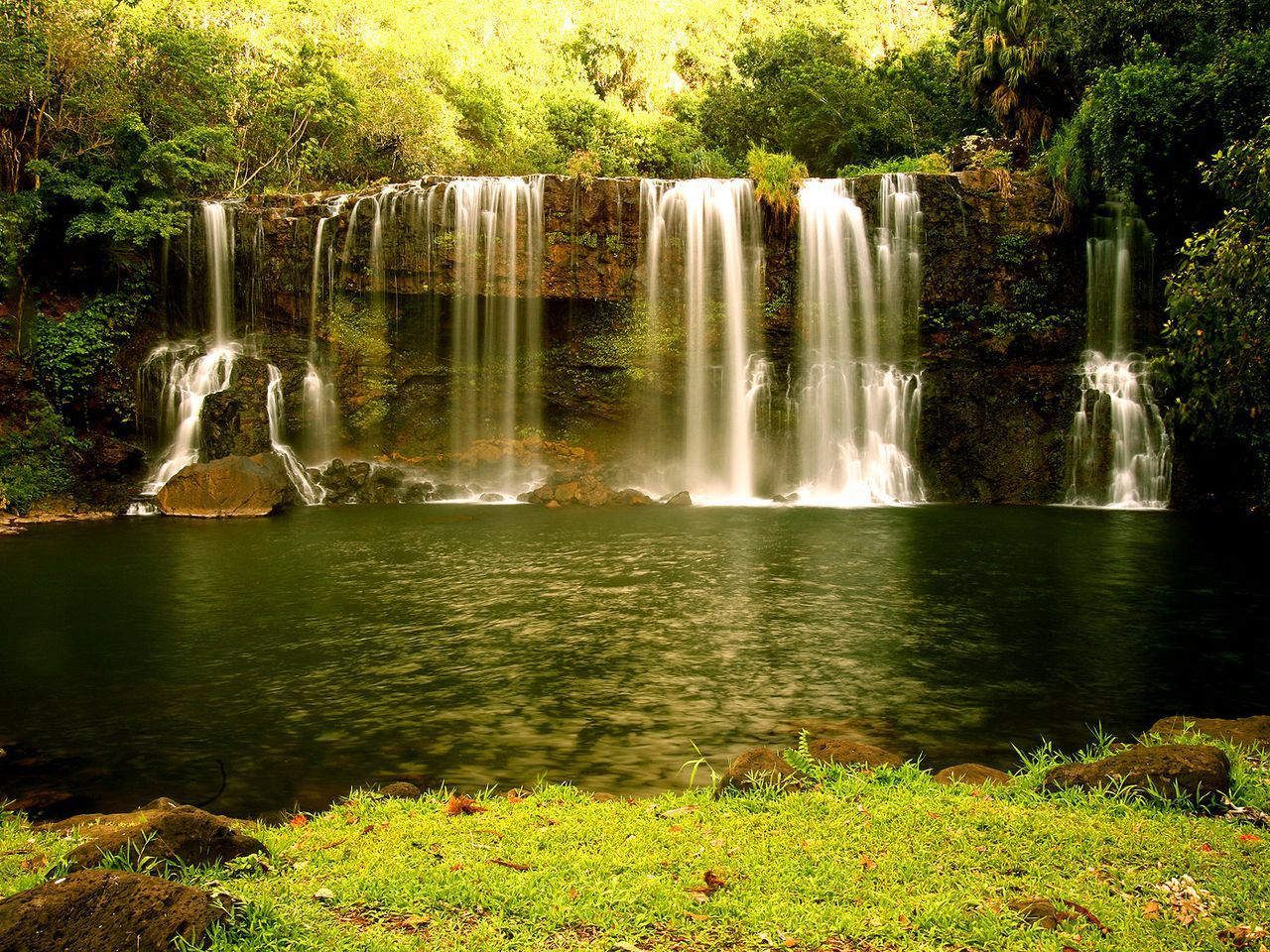 7980 download wallpaper Landscape, Rivers, Waterfalls, Summer screensavers and pictures for free