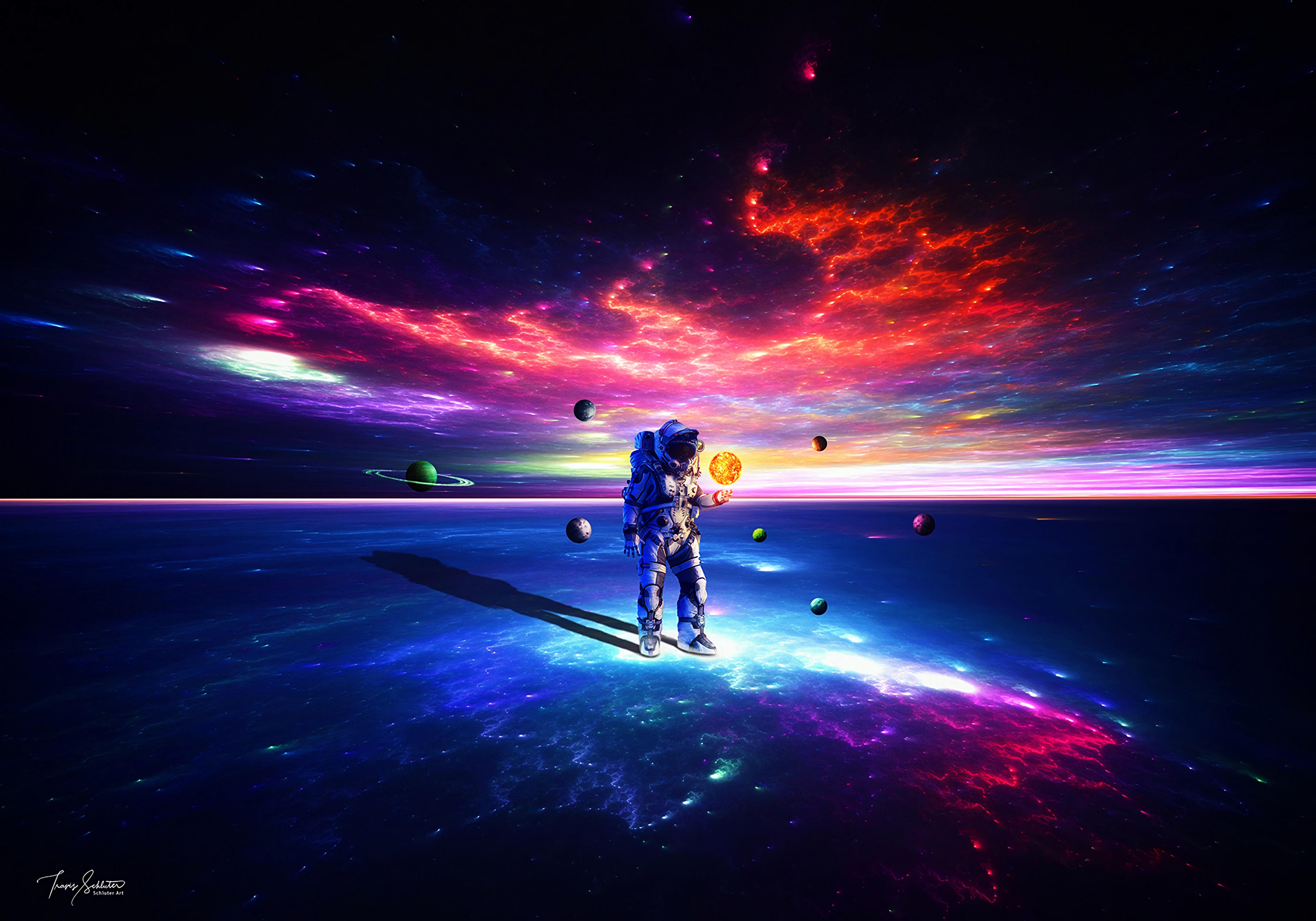 60488 скачать обои Разноцветный, Планеты, Космос, Космонавт, Скафандр, Астронавт - заставки и картинки бесплатно