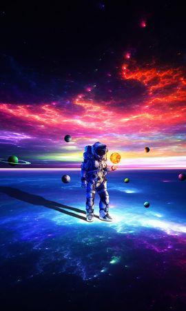 60488 Protetores de tela e papéis de parede Planetas em seu telefone. Baixe Cosmonauta, Astronauta, Traje Espacial, Universo, Multicolorido, Motley, Planetas fotos gratuitamente