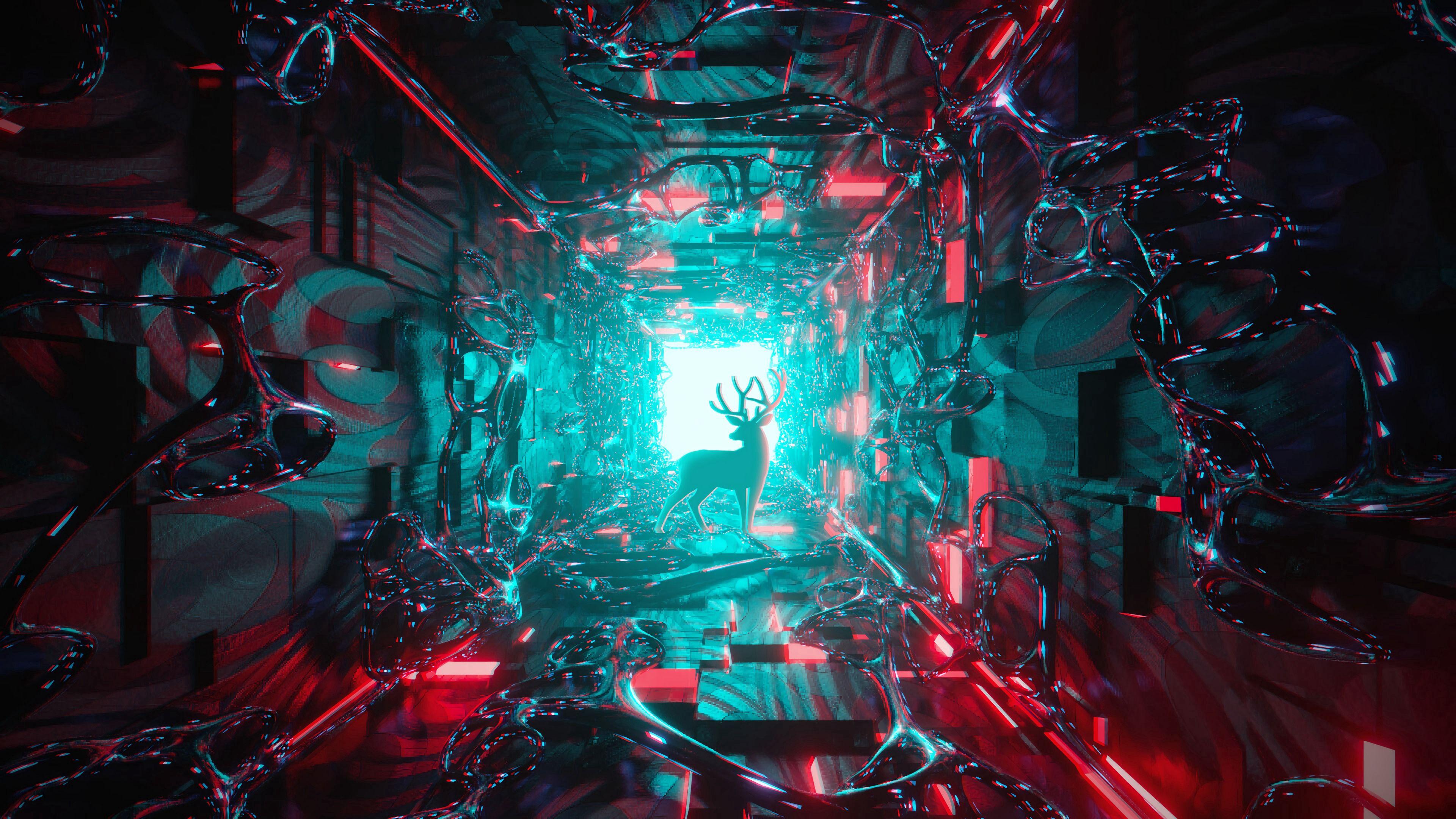 免費下載 118751: 艺术, 鹿, 闪耀, 光, 3D, 隧道 桌面壁紙