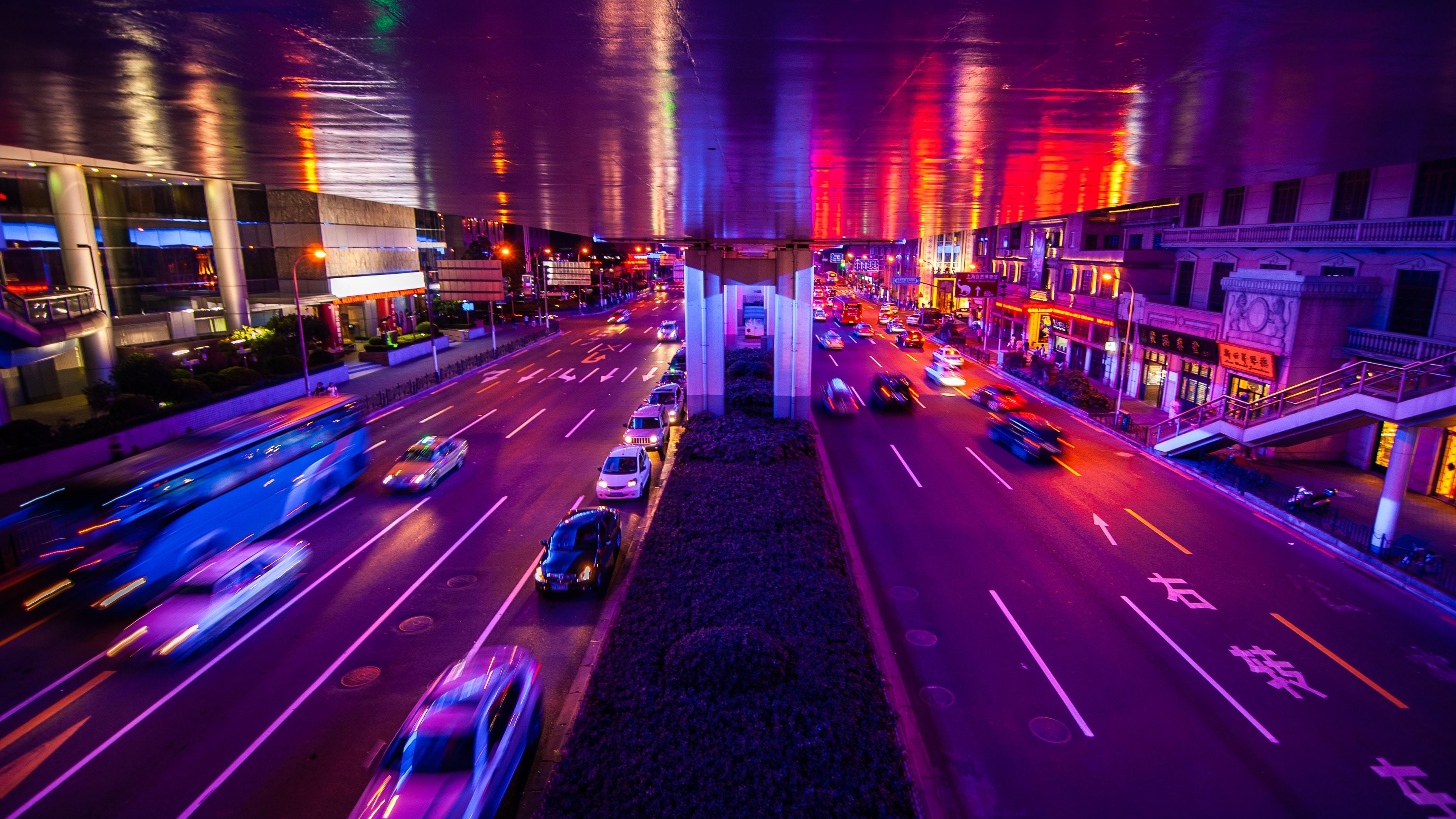 77021 скачать обои Дорога, Город, Ночь, Огни, Города, Машины - заставки и картинки бесплатно