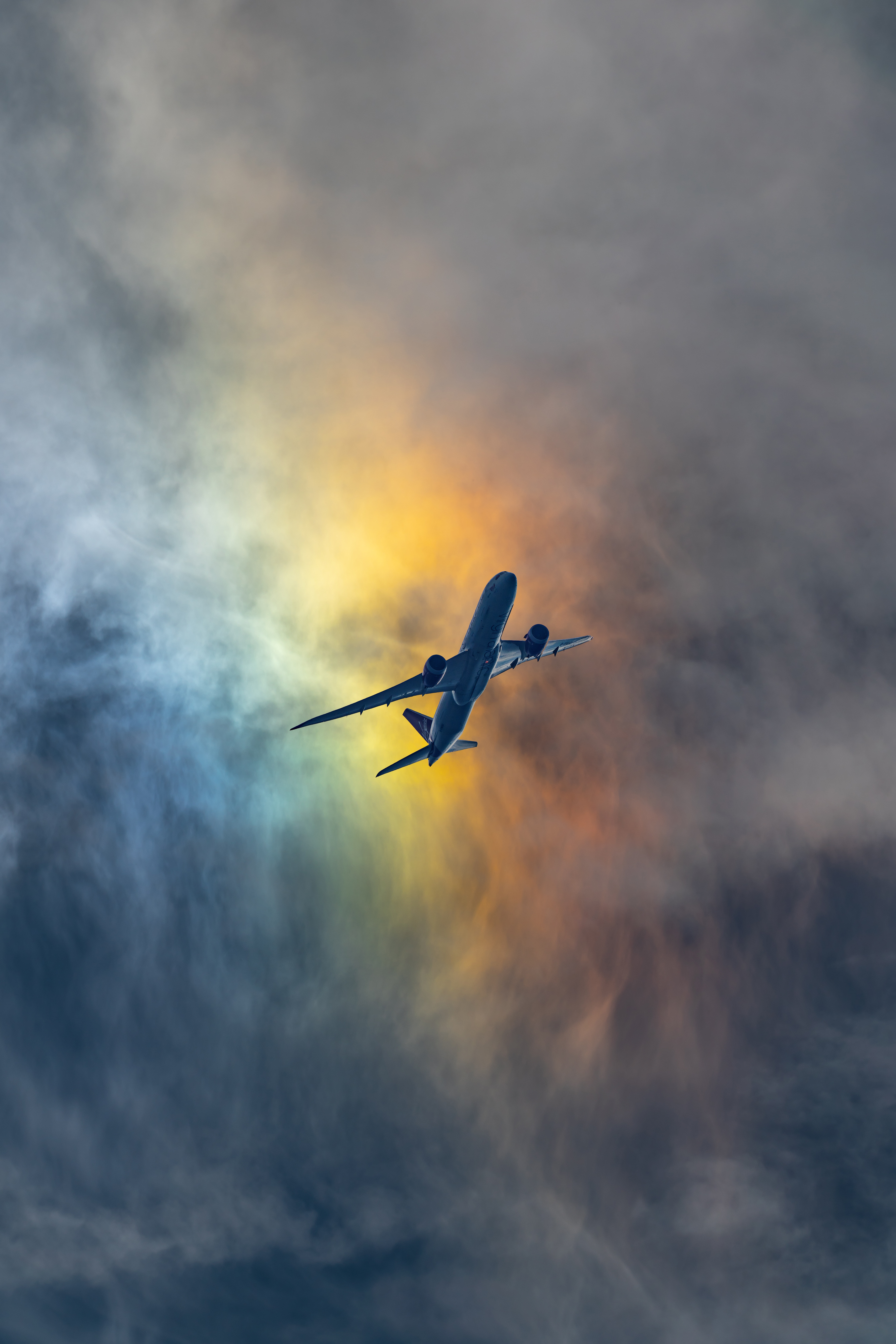 99868 Screensavers and Wallpapers Shroud for phone. Download Sky, Clouds, Miscellanea, Miscellaneous, Flight, Plane, Airplane, Shroud pictures for free