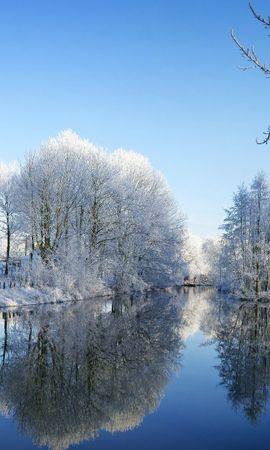 20714 скачать обои Пейзаж, Зима, Река, Деревья - заставки и картинки бесплатно